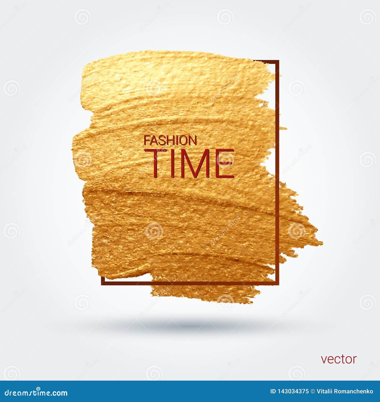 Abstrich mit einer künstlerischen Bürste Goldschmutzbeschaffenheit in einem Rahmen Ein glänzendes festliches Muster