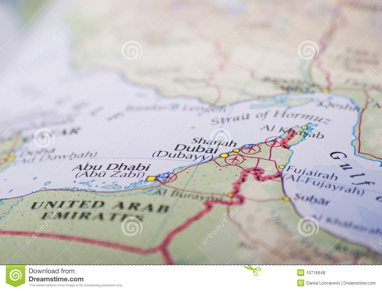 Abu Dhabi and Dubai map stock photo. Image of arab, cartography ...