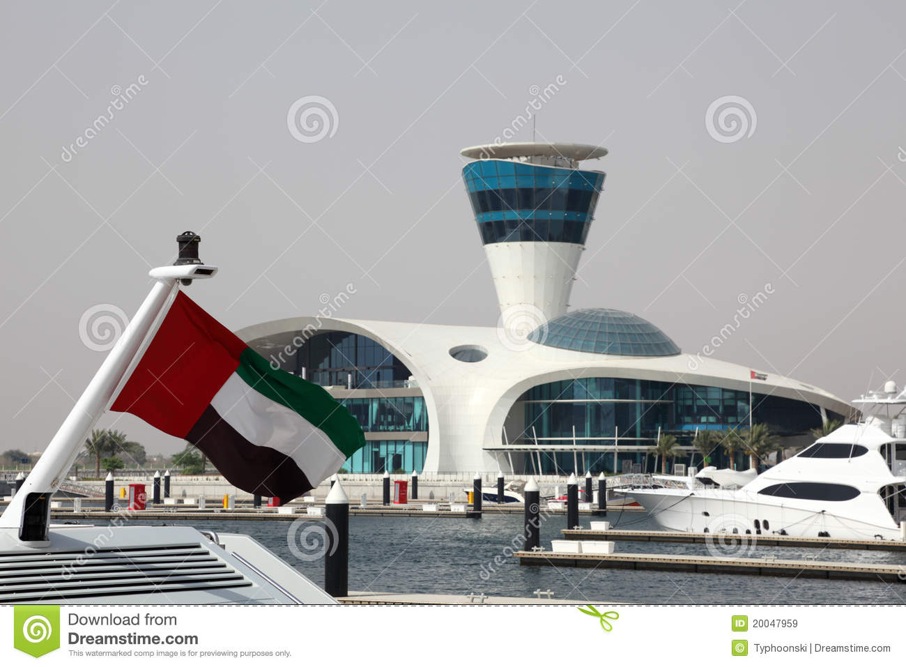 Abu Dhabi Marina Stock Image Image Of Tower Flag United 20047959