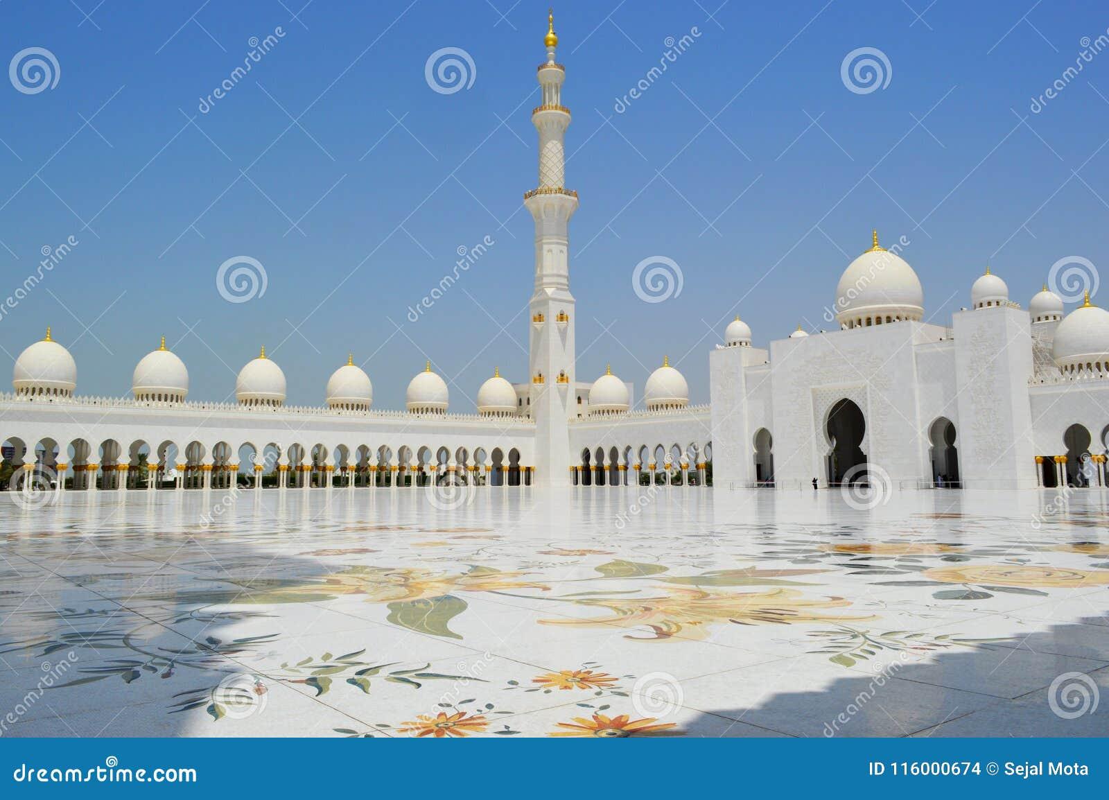 Abu Dhabi Mosque dubai asien Ruhig und heilige Stätte Großartige Moschee