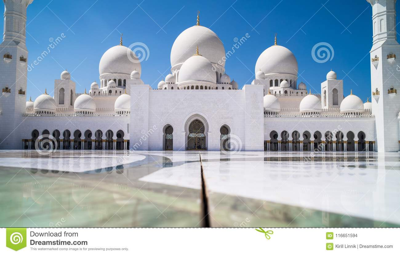 Download Abu Dhabi Sheikh Zayed Mosque Stock Photo - Image of minaret, blue: 116651594