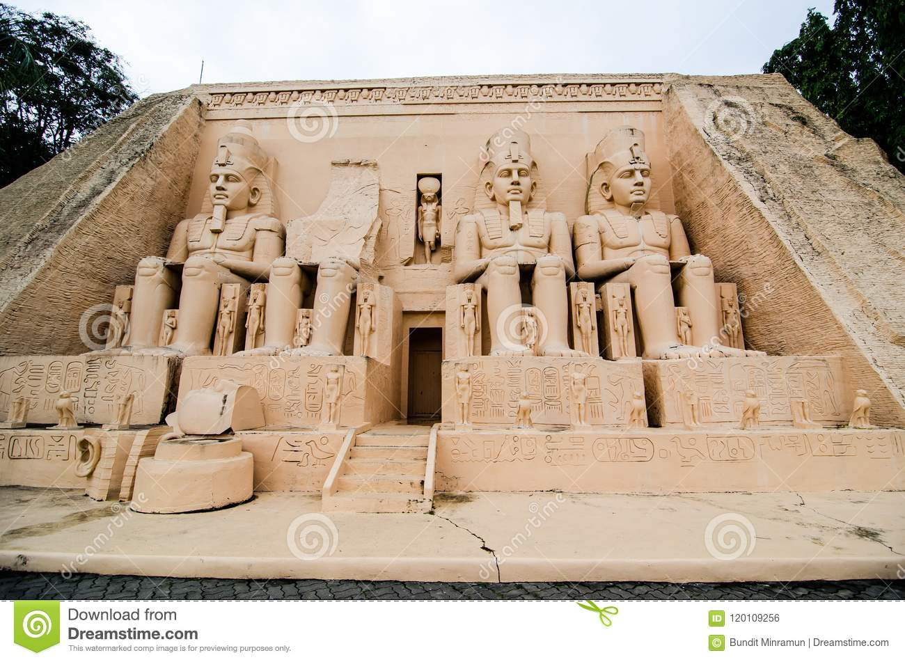 The Abu Simbel temples at miniature park is an open space that displays miniature buildings and models.