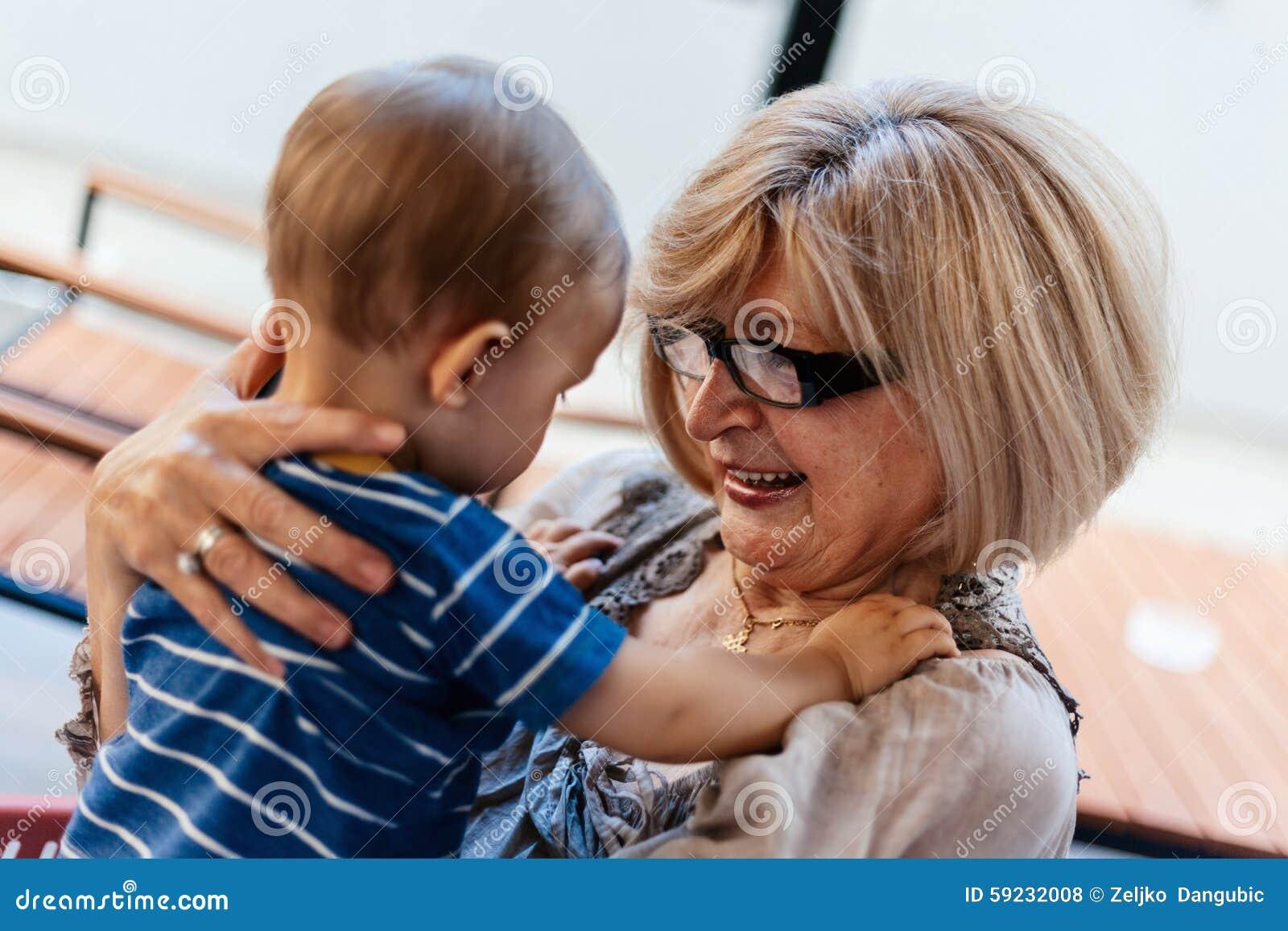 Download Abuela con su nieto foto de archivo. Imagen de bebé, niño - 59232008