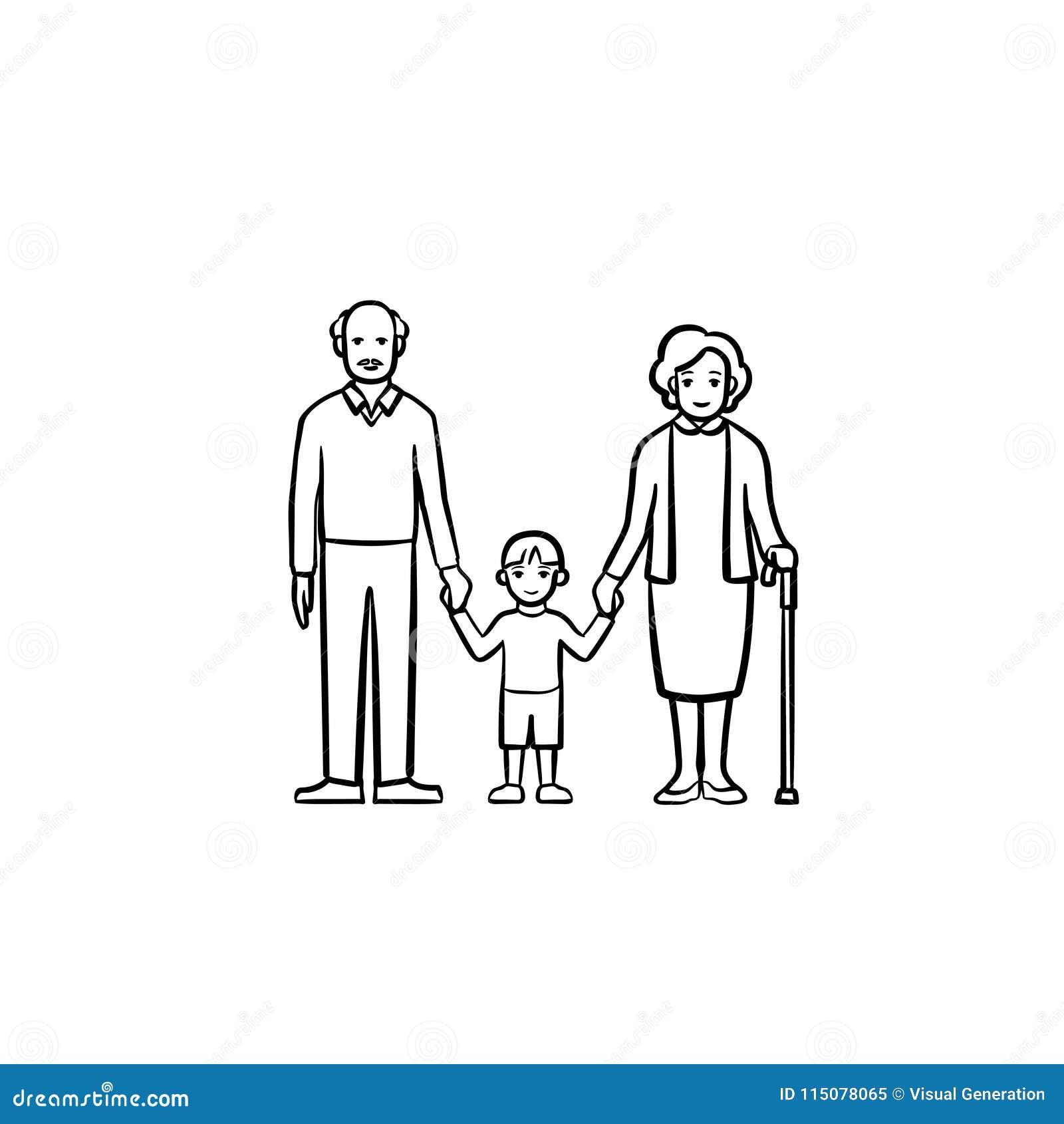 Abuelos e icono dibujado mano del bosquejo del nieto