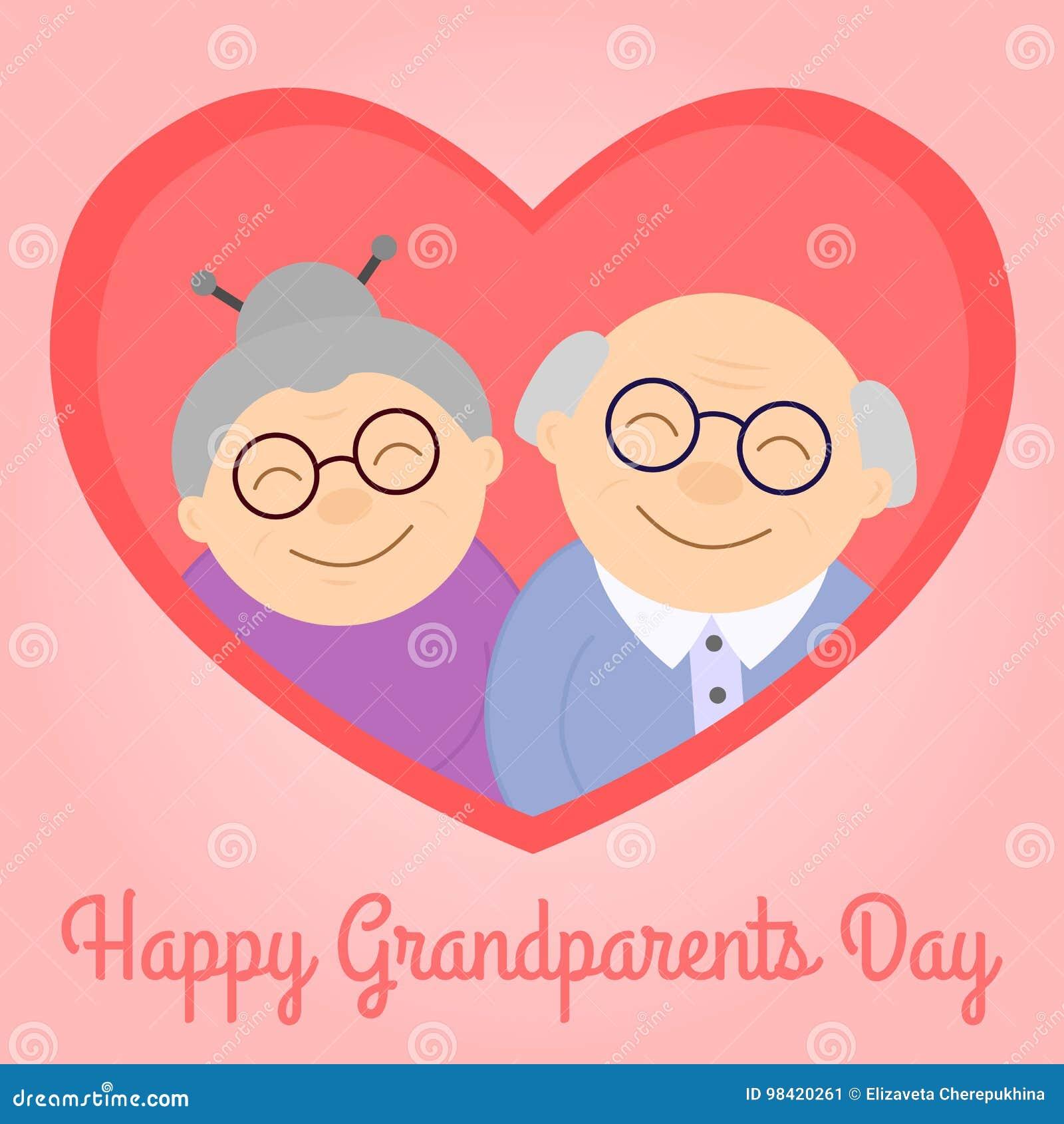 Abuelos Felices En Corazón Personas Mayores Día Del ` S Del Abuelo ...
