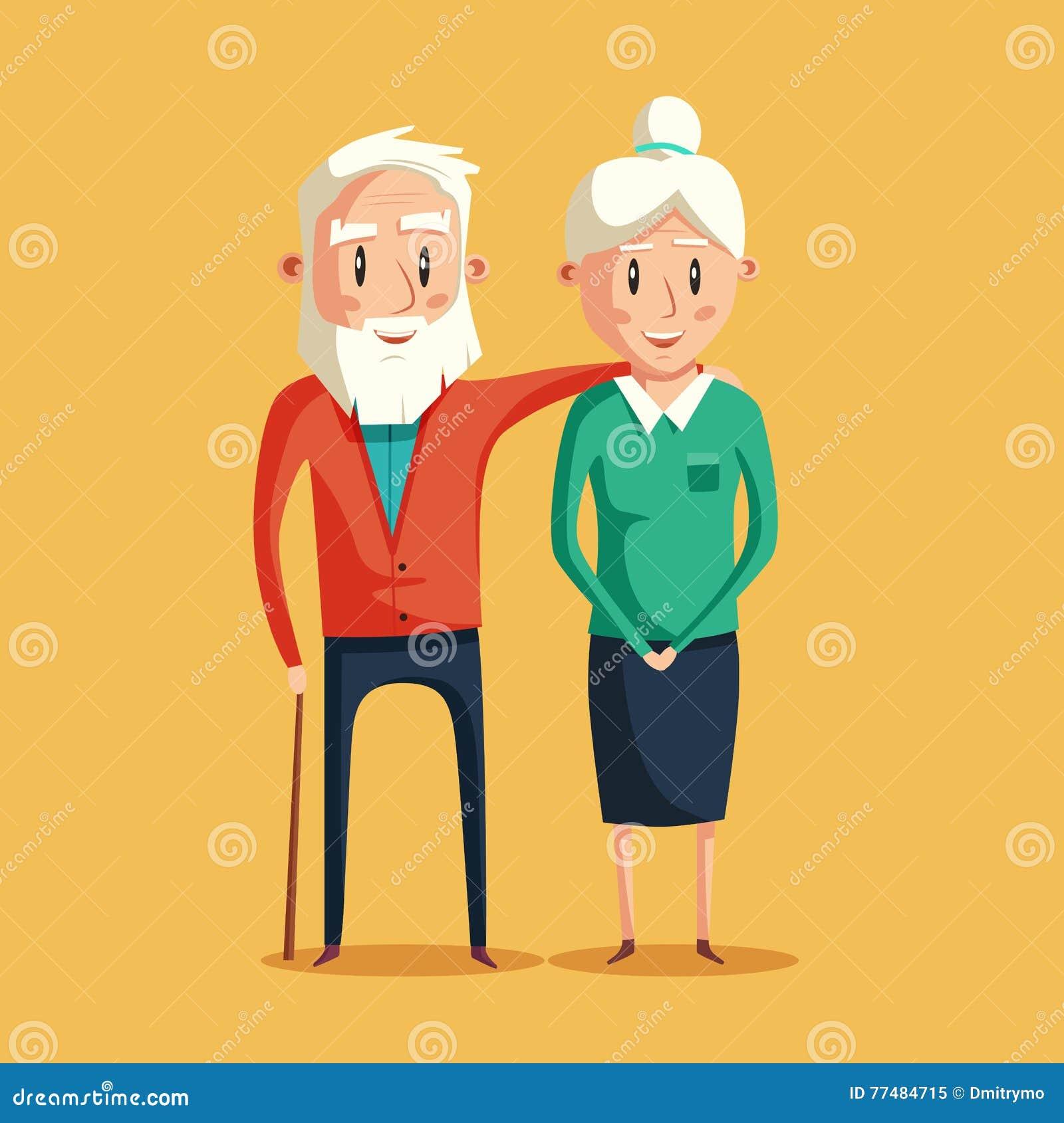 Abuelos felices Ilustración de la historieta del vector