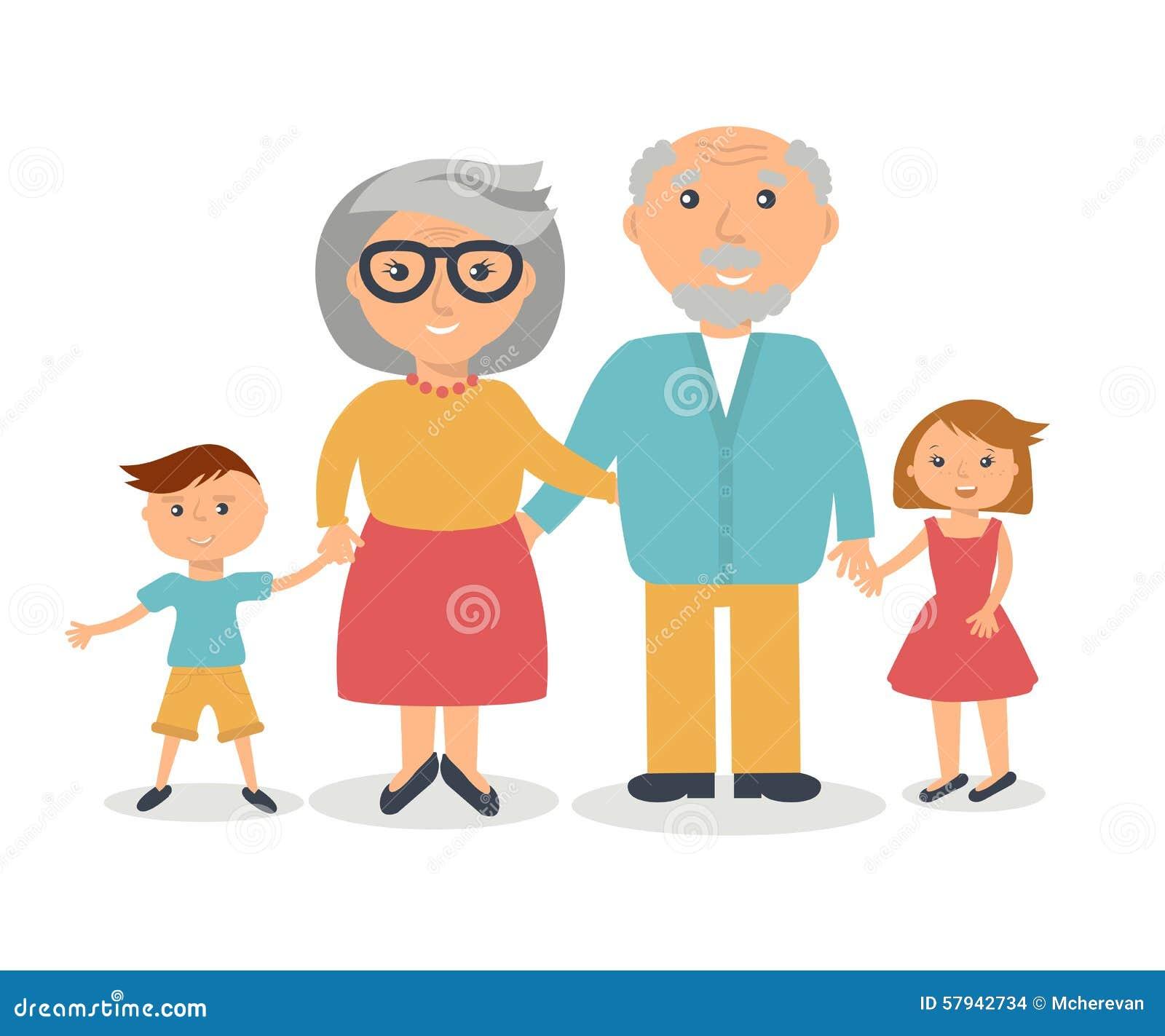 Abuelos mayores con sus grandchilds Concepto de familia de la gente Estilo plano
