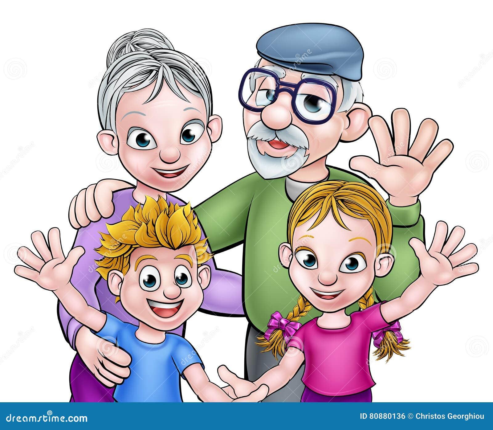Abuelos y niños de la historieta