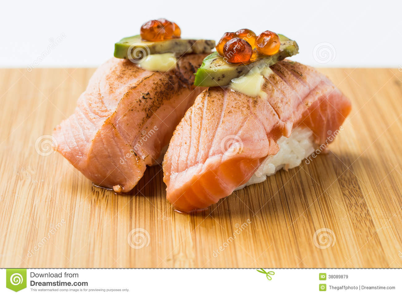 Aburi Salmon Nigiri Sushi Stock Image Image Of Background 38089879