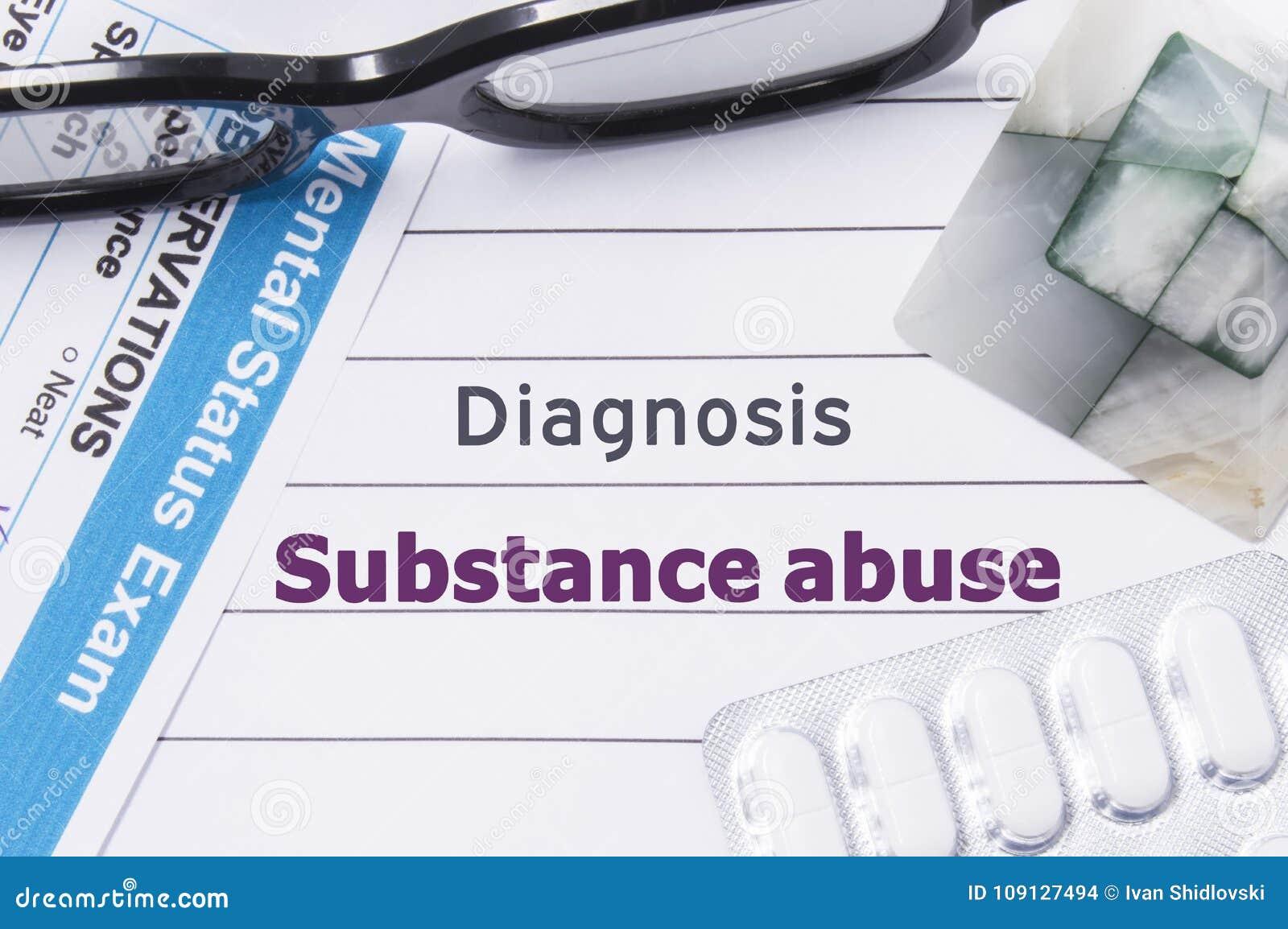 Abuso de substâncias do diagnóstico O caderno médico etiquetou o abuso de substâncias do diagnóstico, questionário mental psiquiá