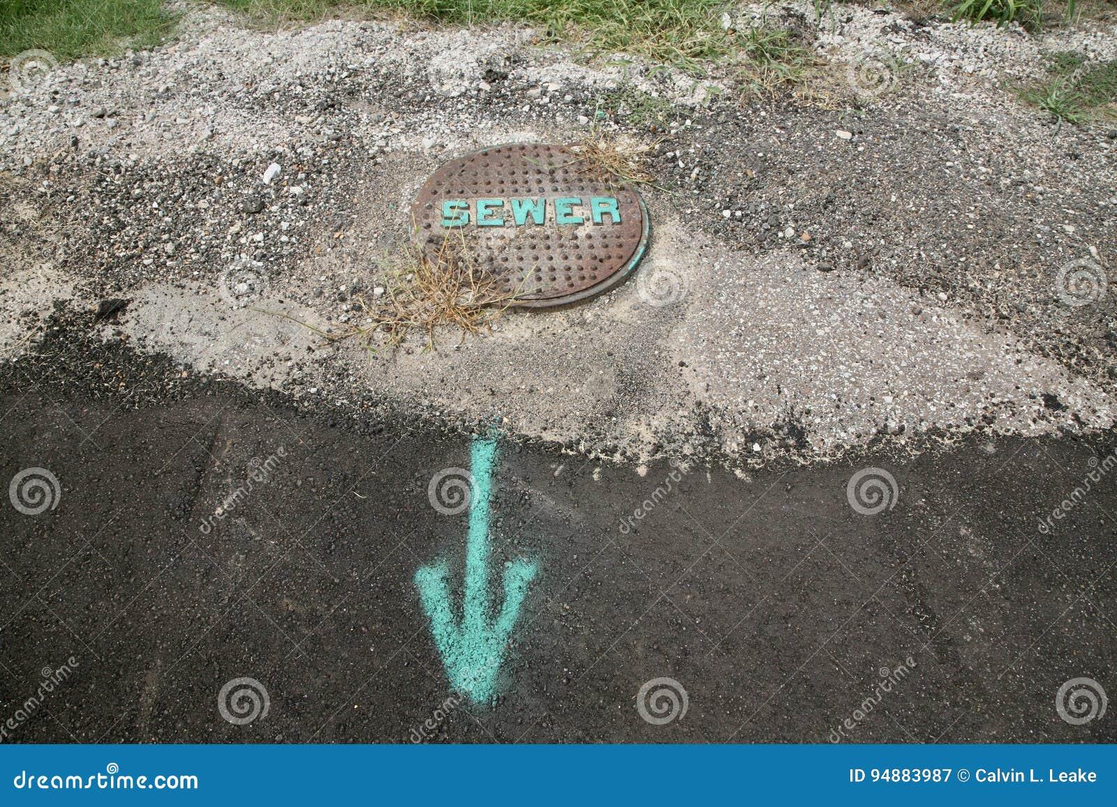 Abwasserkanal-Abfluss beschriftet und markiert