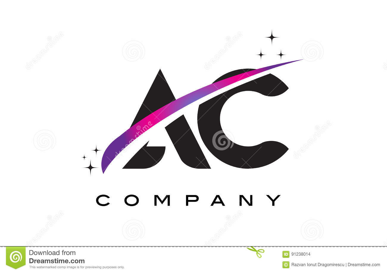 ac a c black letter logo design with purple magenta swoosh stock vector image 91238014. Black Bedroom Furniture Sets. Home Design Ideas