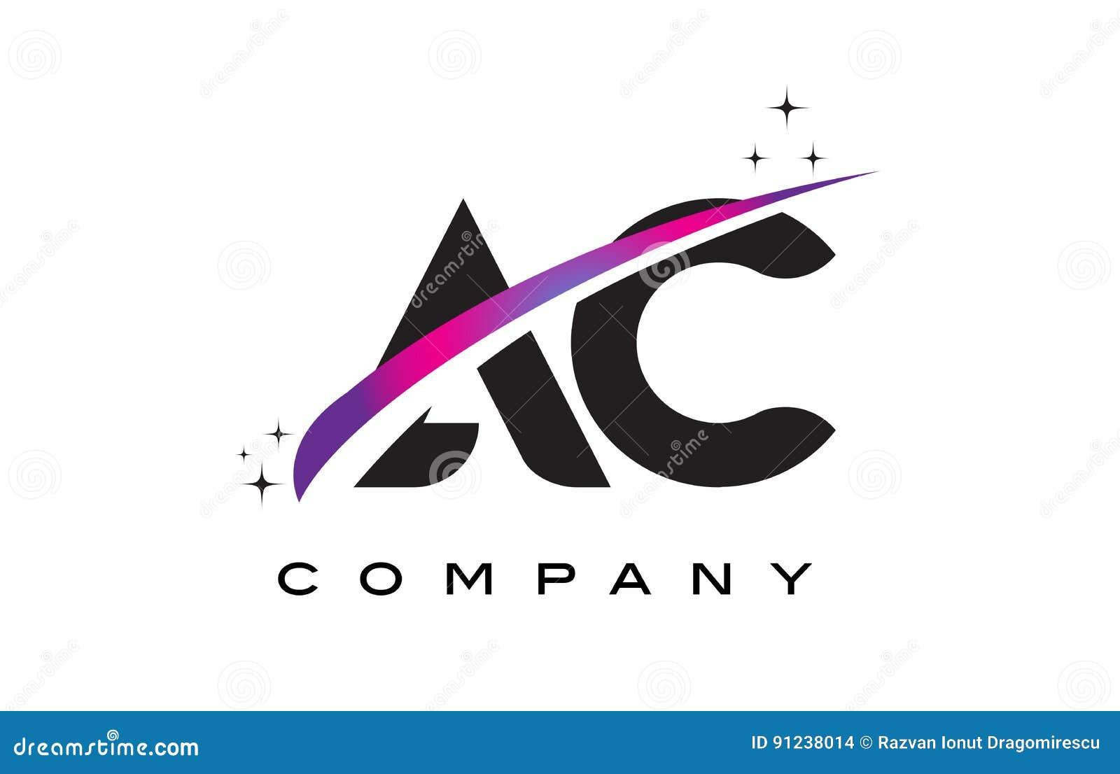 ac a c black letter logo design with purple magenta swoosh stock vector image 91238014. Black Bedroom Furniture Sets. Home Design Ideas