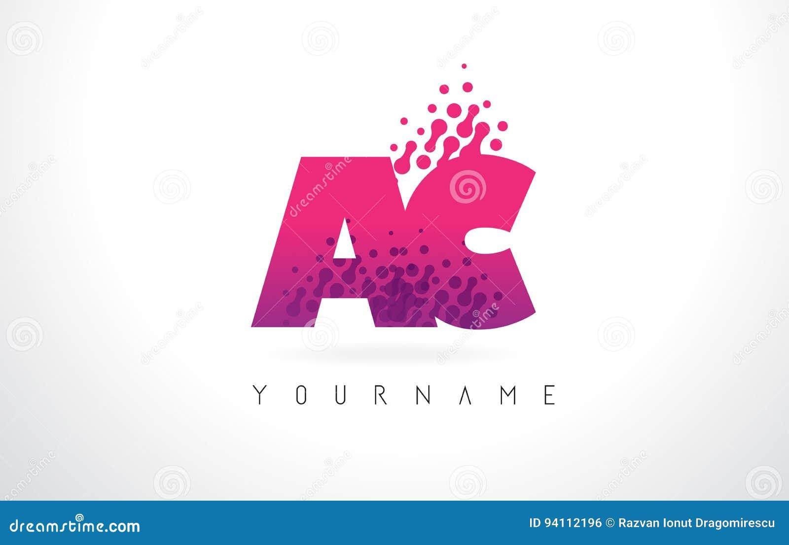 AC A C Letter Logo With Pink Purple Color And Particles Dots Des ...