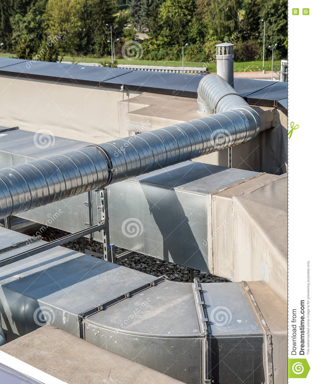 Furnace Air Ducts : Ac pipes and ducts stock photo image of outdoors