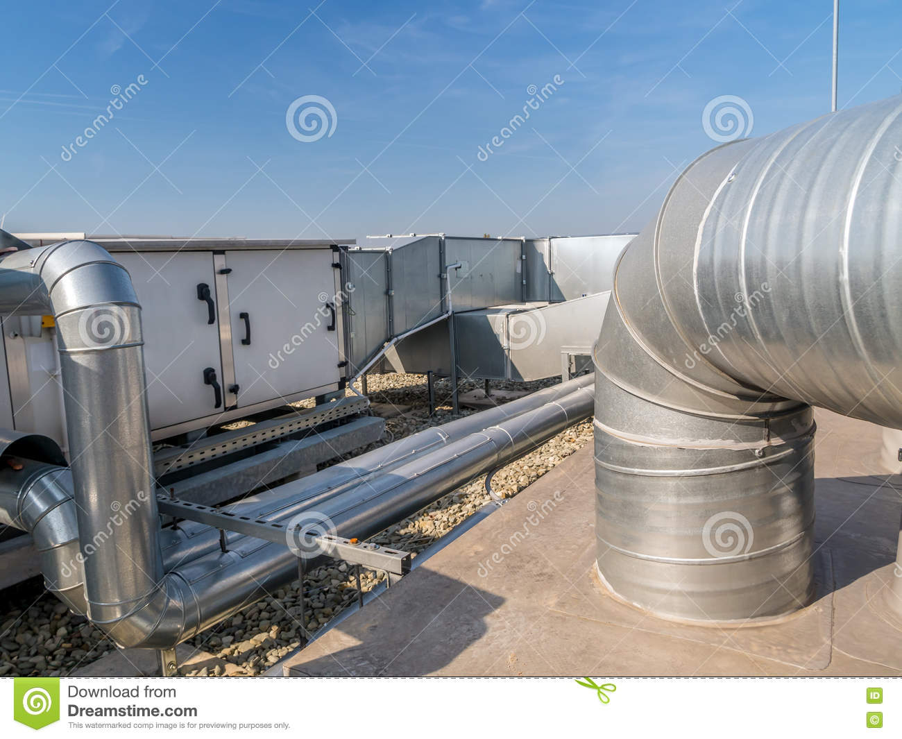 ac pipes and ducts stock image. image of building, exhausting - 78316611