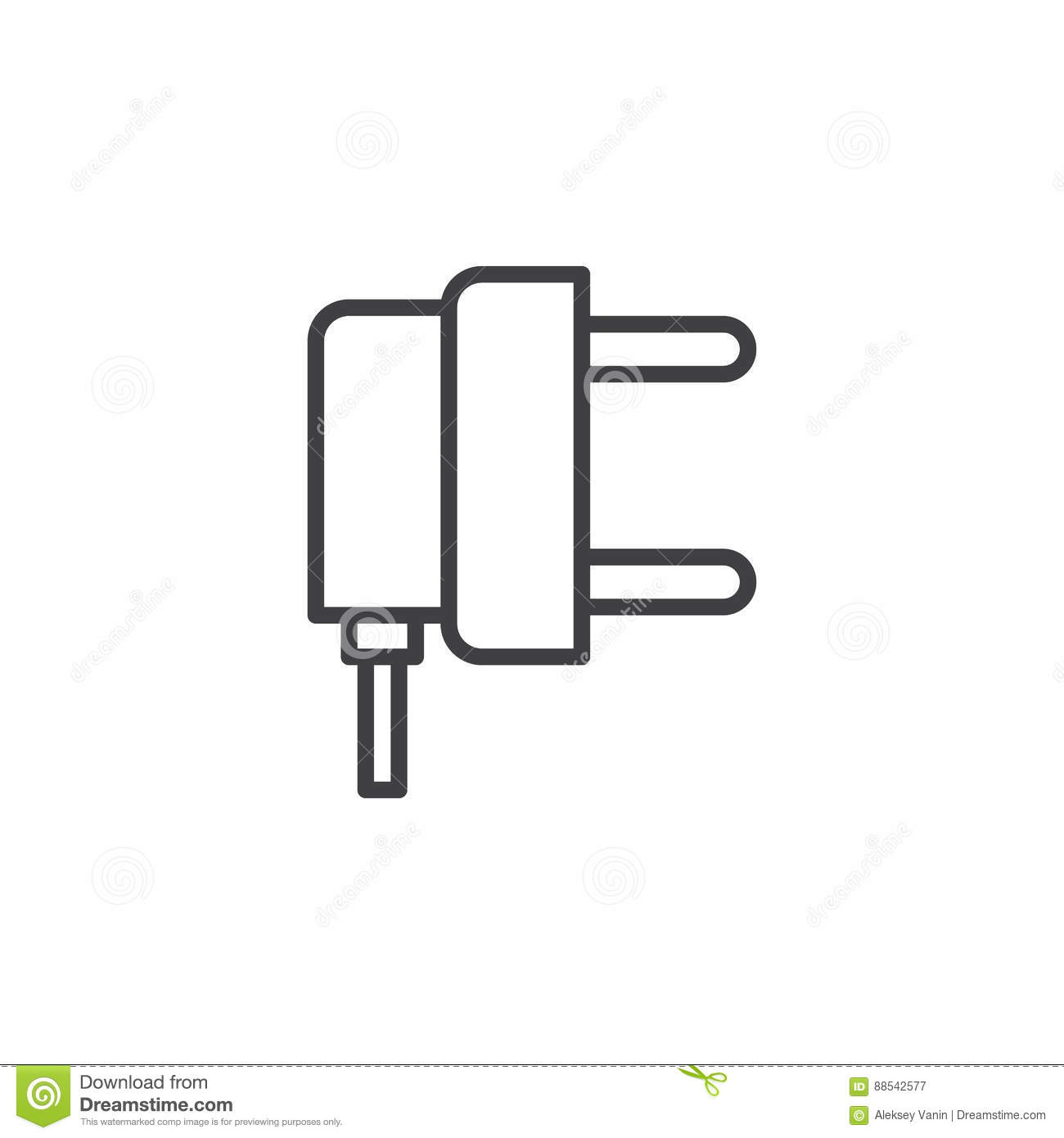 AC Power Plug Line Icon, Outline Vector Sign, Linear Pictogram ...