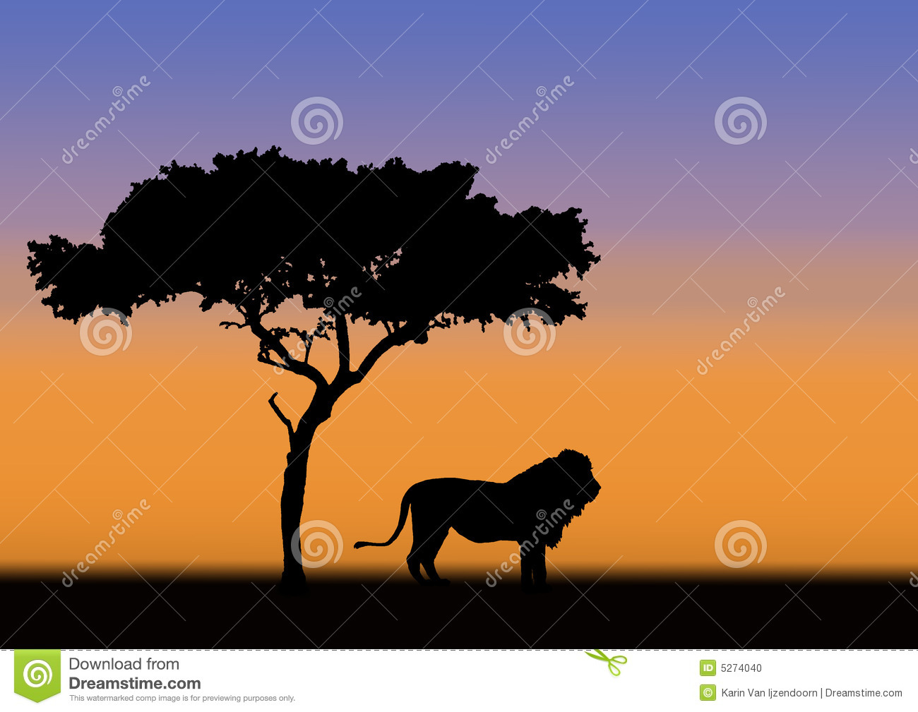 Acacia And Lion Silhouette Stock Photo - Image: 5274040