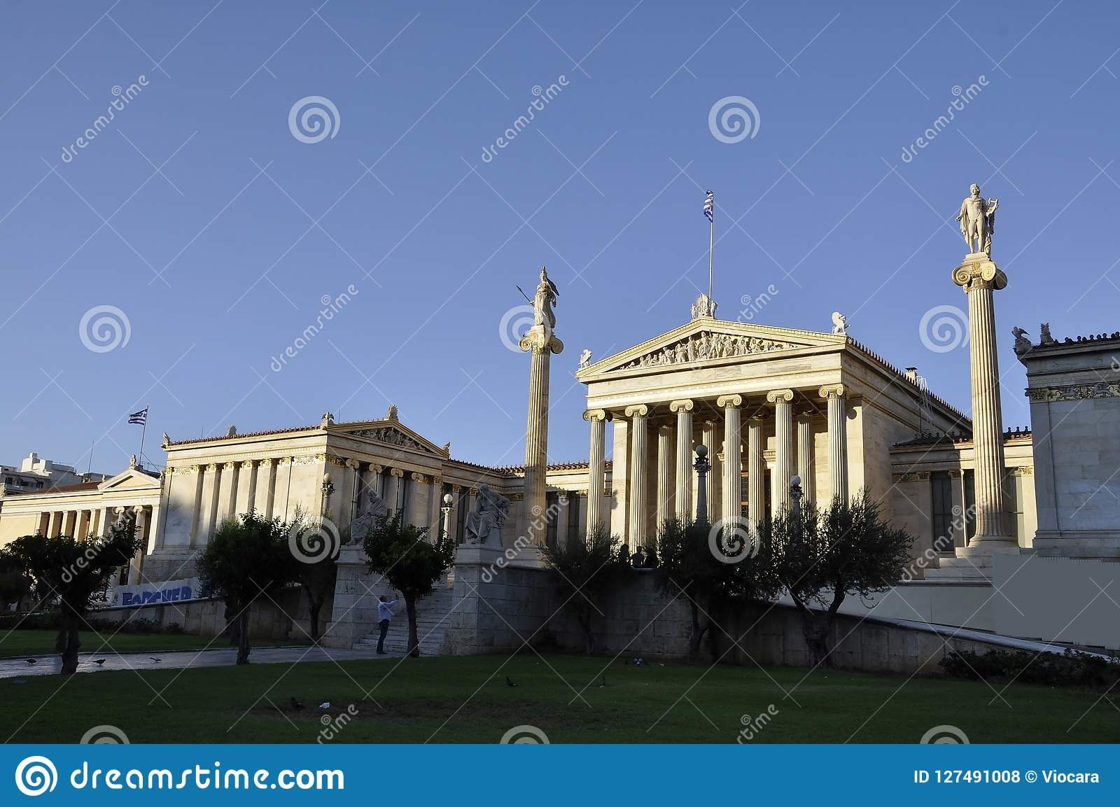 Academy of Athens Landmark at sunset in Greece