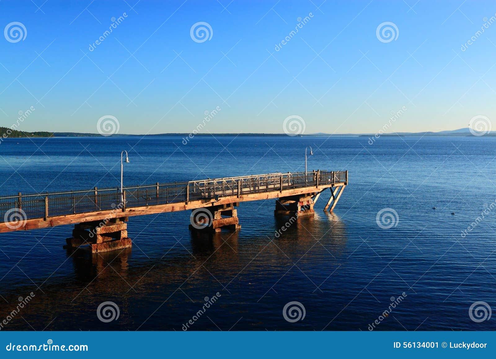 Acadia pier ocean morning stock image image of fishing for Acadia national park fishing