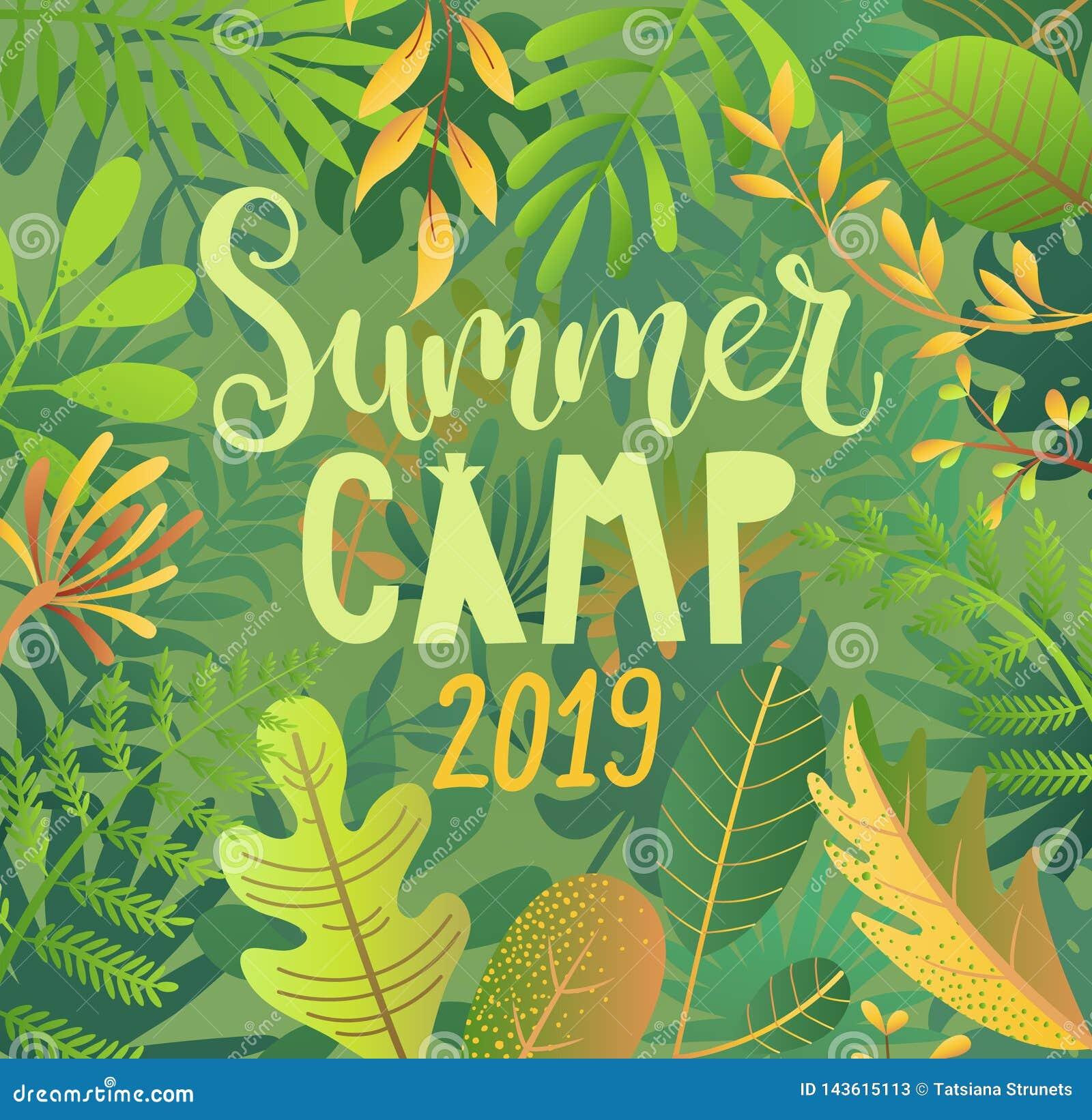 Acampamento de verão 2019 que rotula no fundo da selva