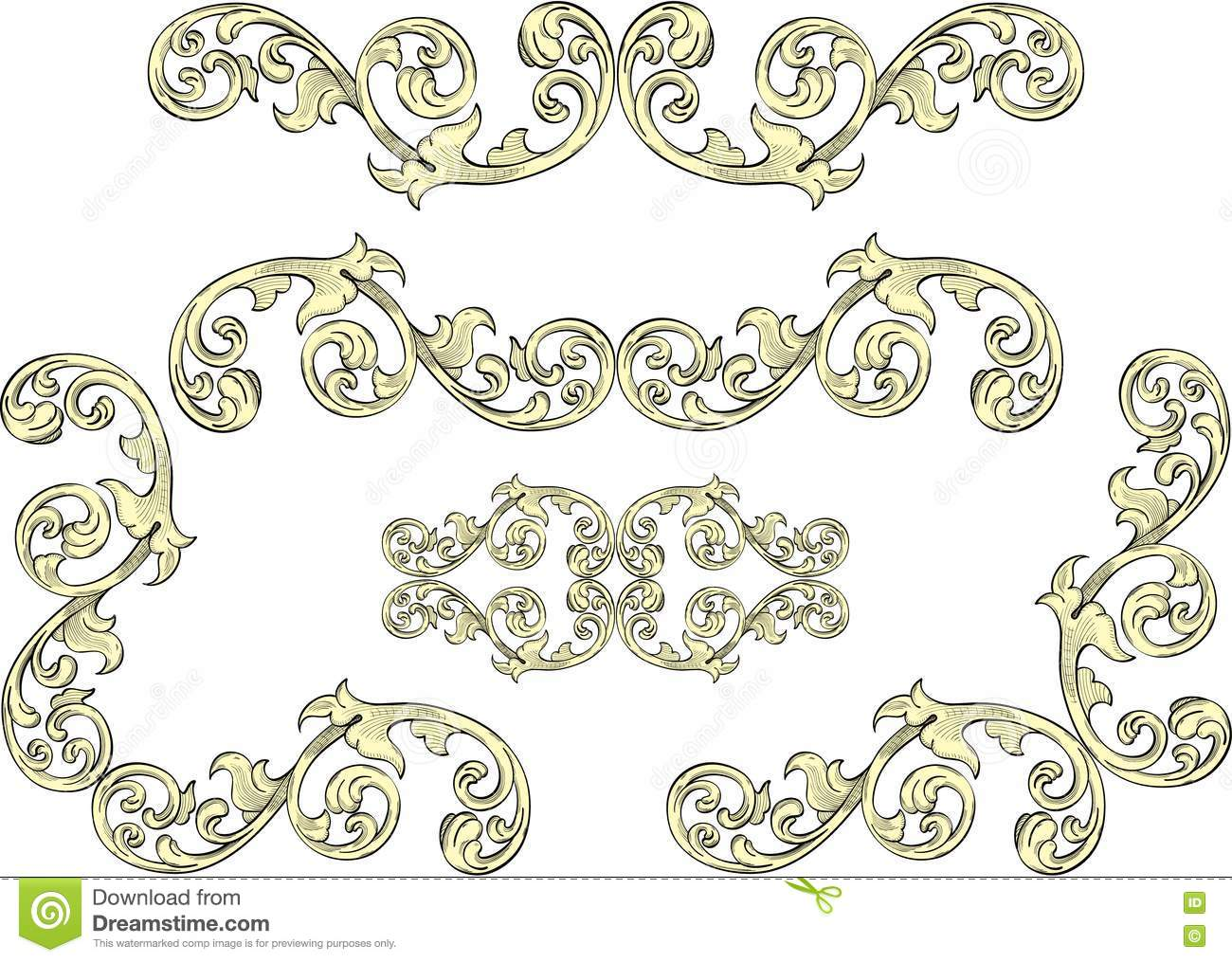Acanthus leaf on border stock vector image of filigree for Acanthus leaf decoration