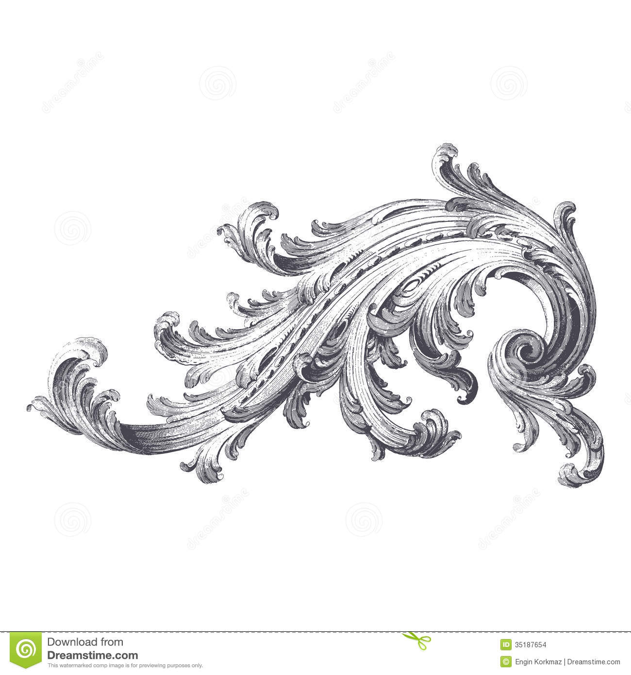 Stock Images Acanthus Scroll Ancient Engraving Design Image35187654 on Squiggle Shape
