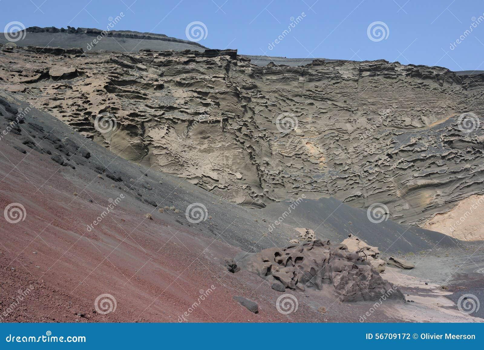 Acantilados del golfo del EL, Lanzarote, islas de Canaria