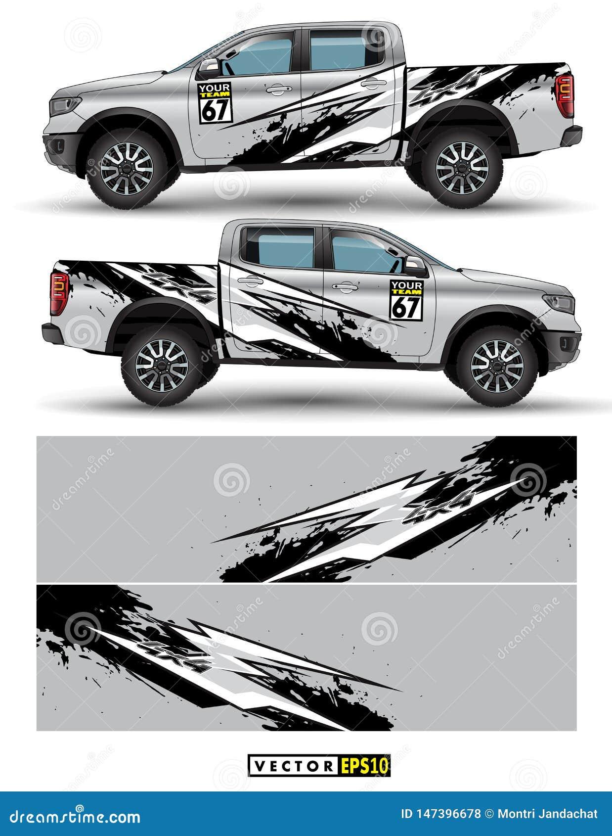 Acarree la impulsión de 4 ruedas y el vector gráfico del coche líneas abstractas con el diseño gris del fondo para el abrigo del