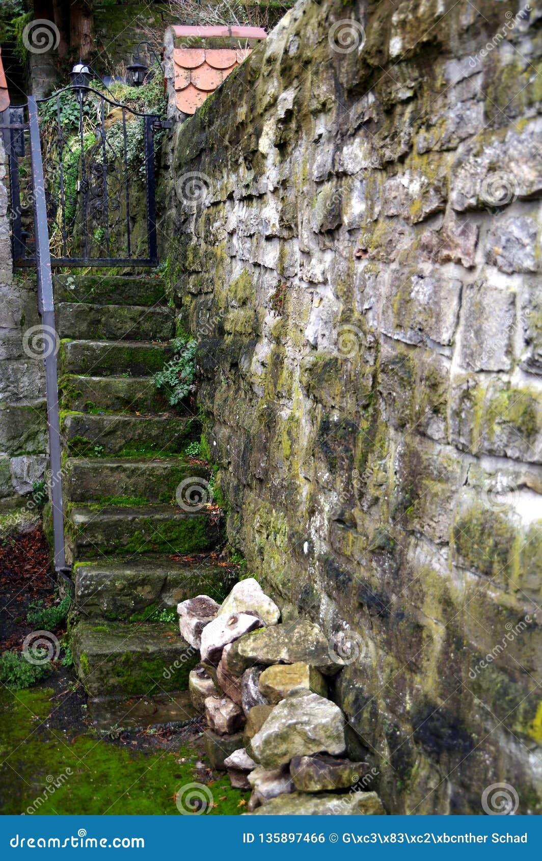 Accès Antique De Jardin De L\'escalier En Pierre Et Du Mur En Pierre ...