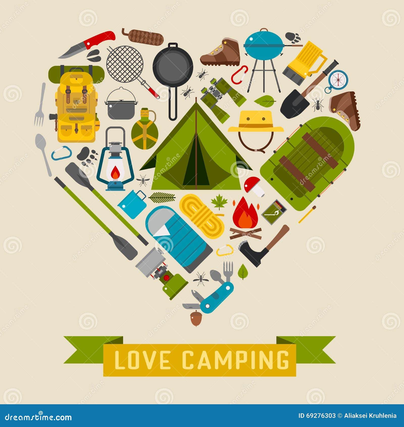 Accampandosi e facendo un escursione concetto di campeggio del cuore di  amore 941a190ef3d