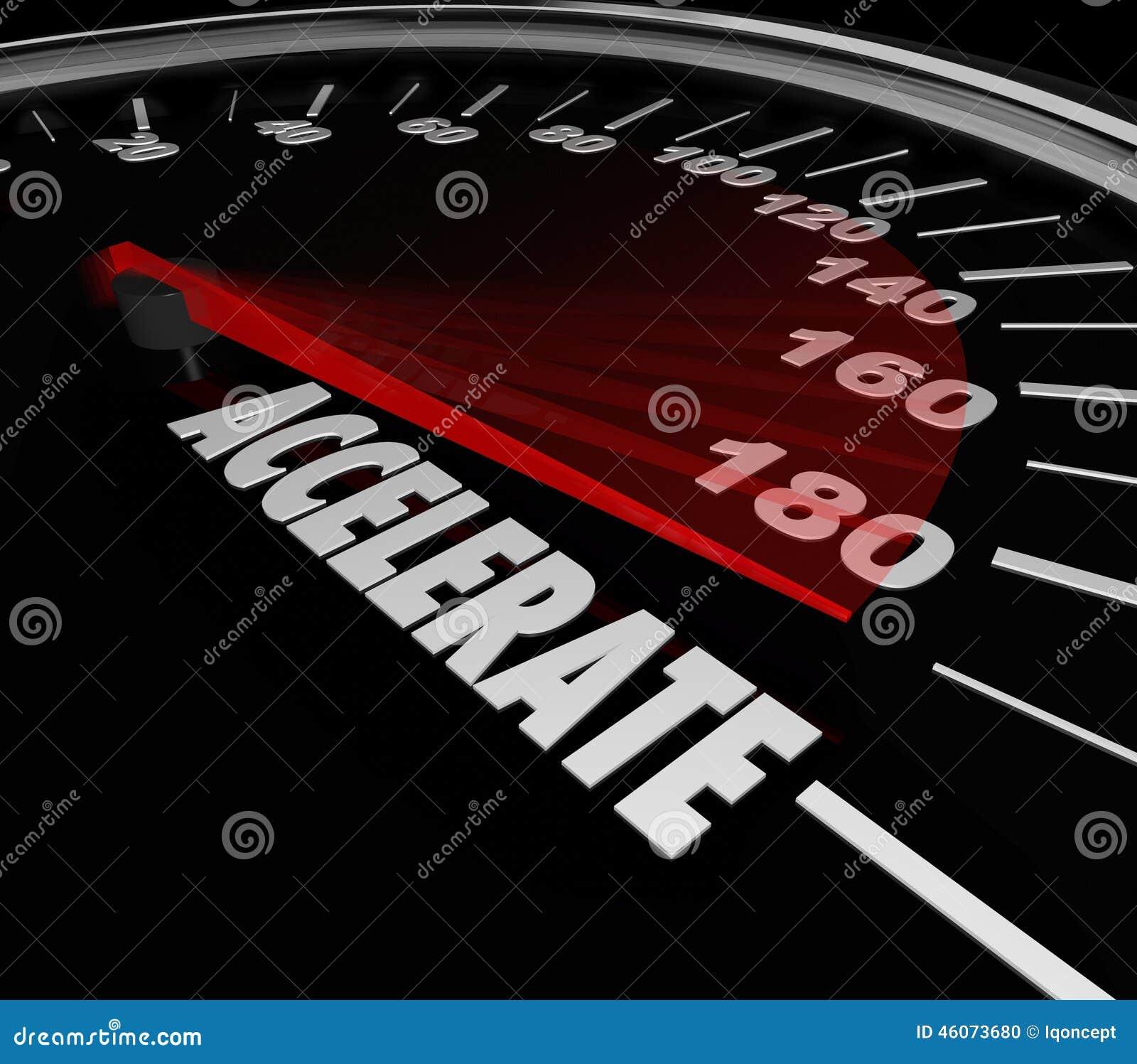 Accelerate Word Speedometer Faster Speed Racing ...