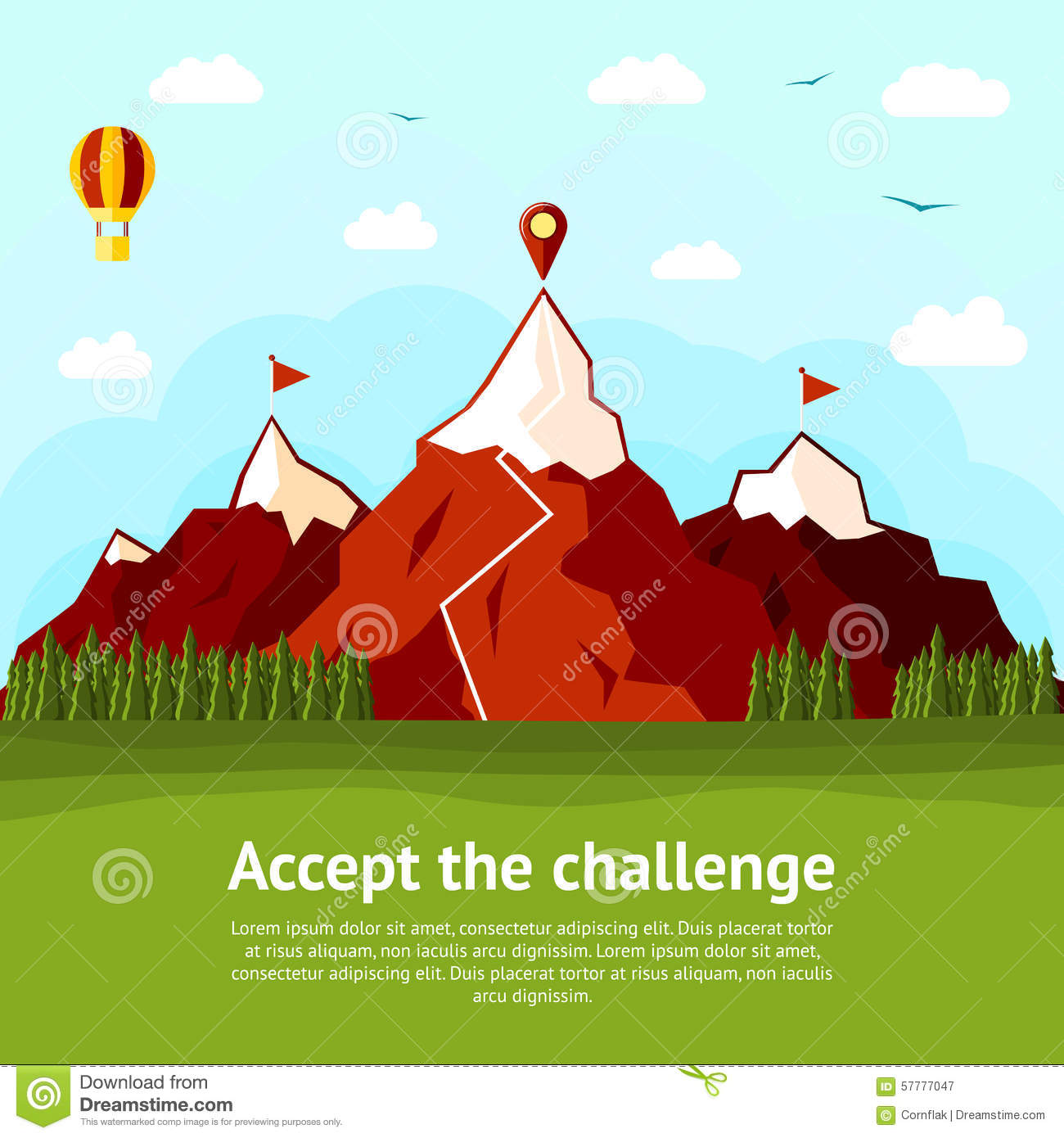 Accept the challenge concept card with high