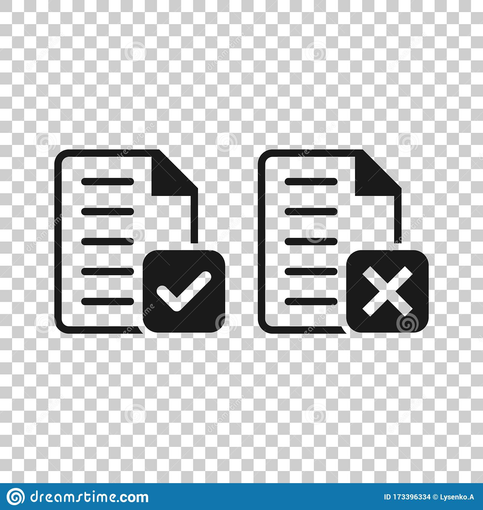 Accept Document Icon In Flat Style. Reject Vector ...
