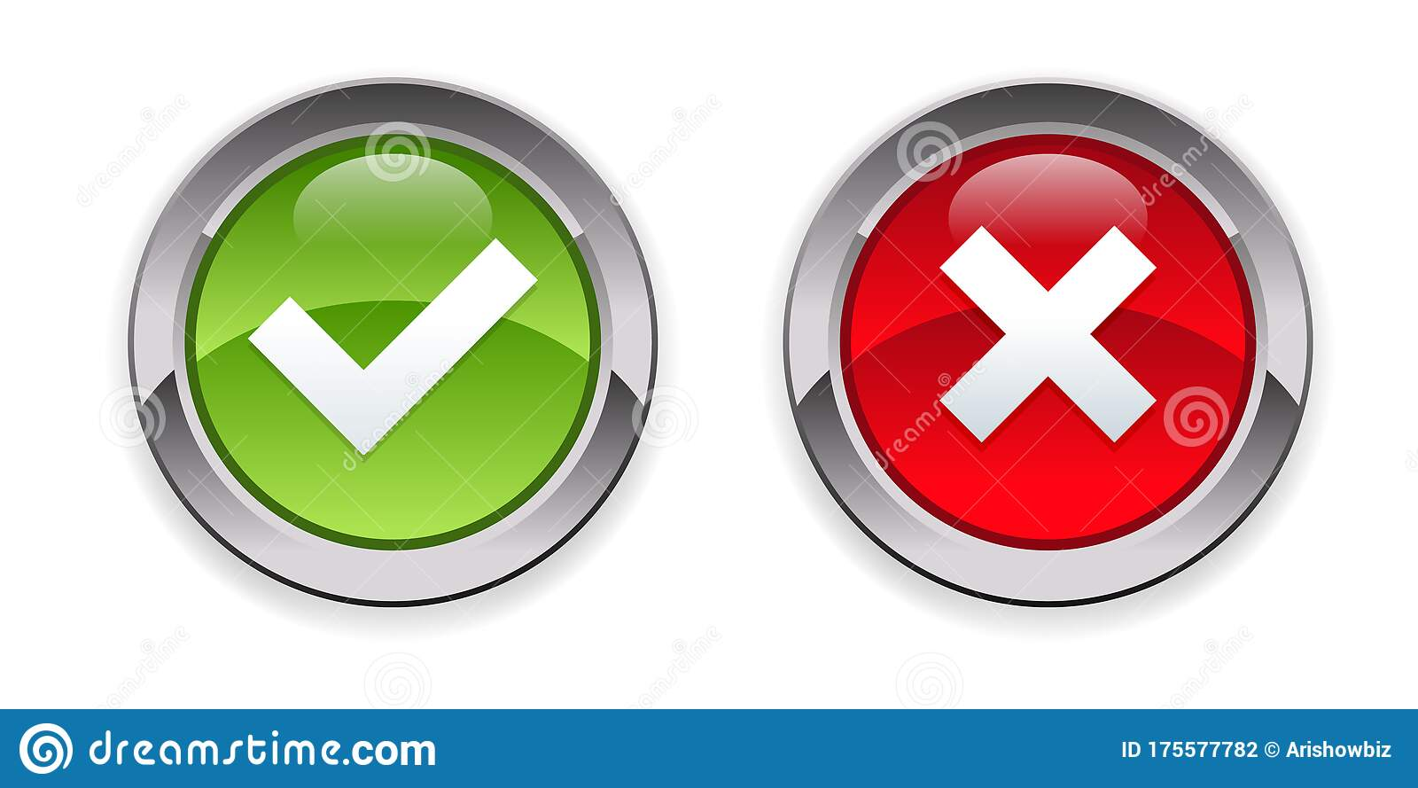 accept reject button icon glossy 3d stock vector