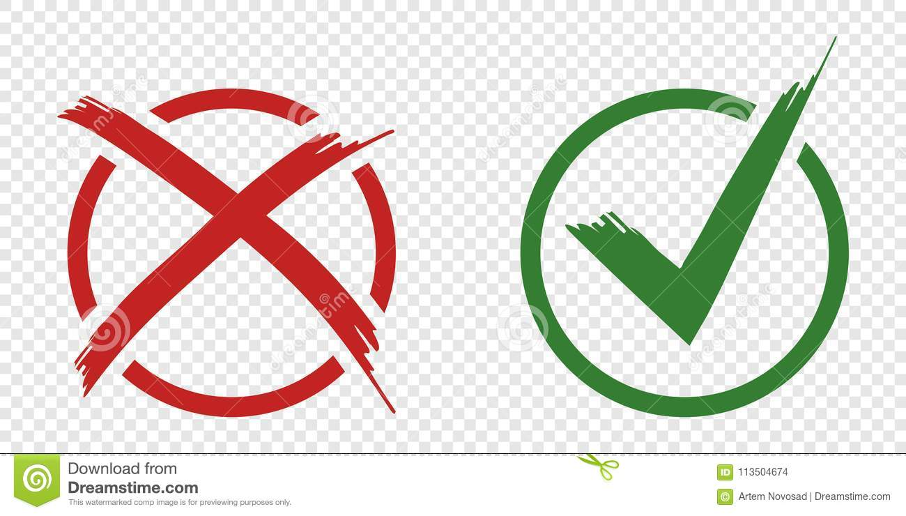 Acceptance and rejection symbol vector buttons for vote, election choice. Circle brush stroke borders. Symbolic OK and X icon isol