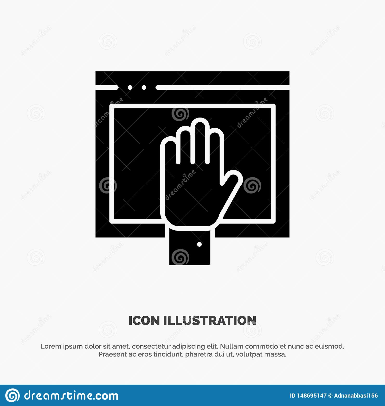 Acceso, contenido, libre, Internet, vector sólido abierto del icono del Glyph