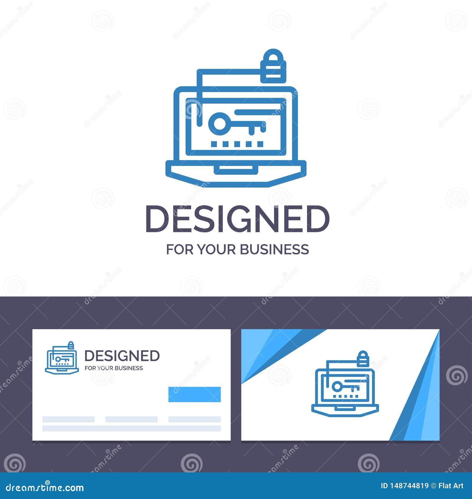 Acceso de visita de la plantilla creativa de la tarjeta y del logotipo, ordenador, hardware, llave, ejemplo del vector del ordena