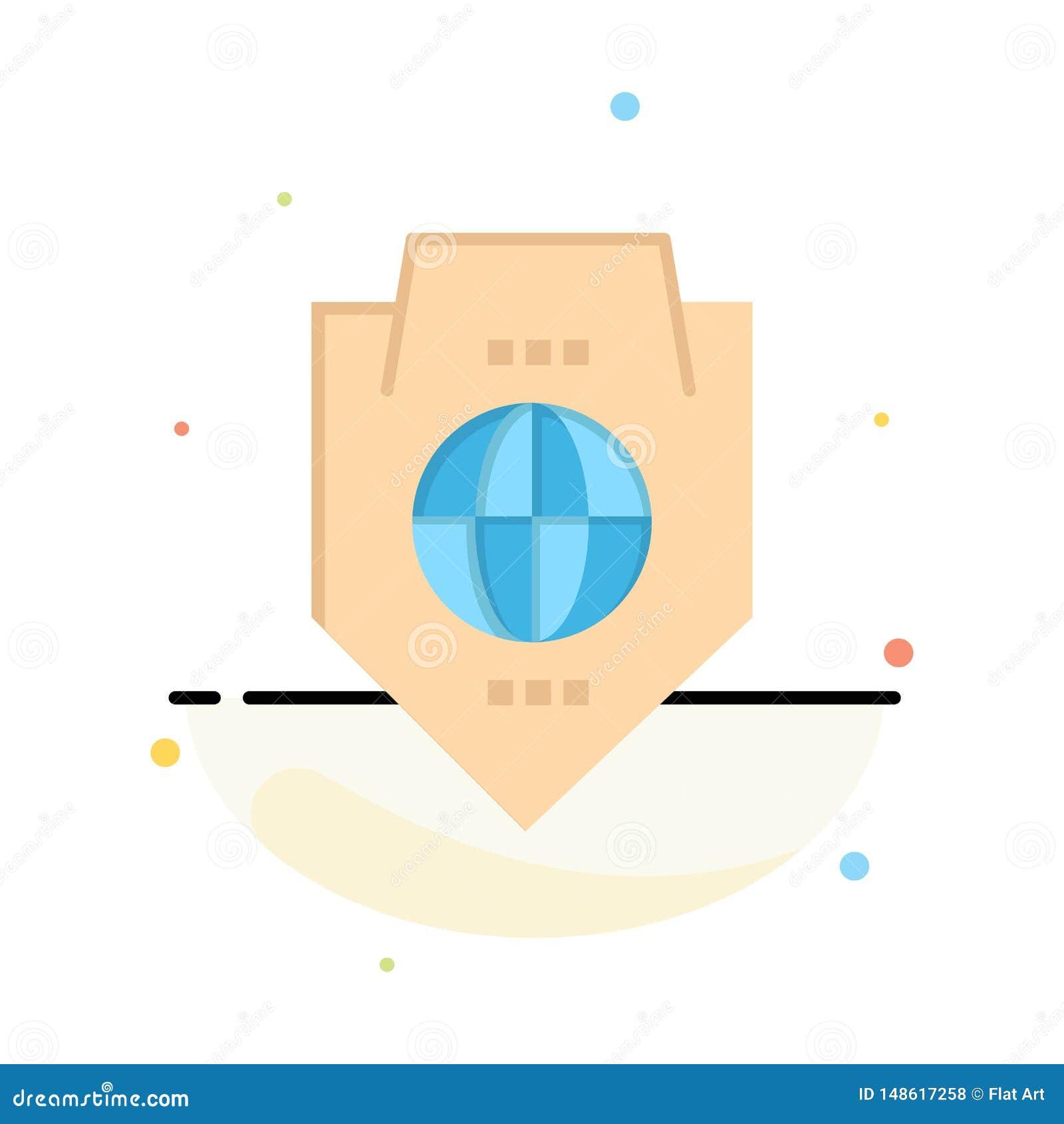 Acceso, mundo, protección, globo, plantilla plana del icono del color del extracto del escudo