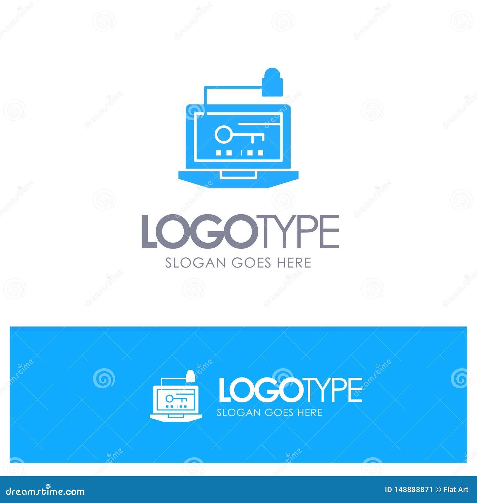 Acceso, ordenador, hardware, llave, logotipo sólido azul del ordenador portátil con el lugar para el tagline