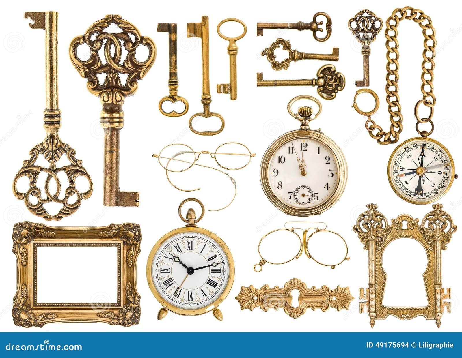 Accesorios antiguos de oro marco barroco llaves del for Reloj de pared vintage 60cm