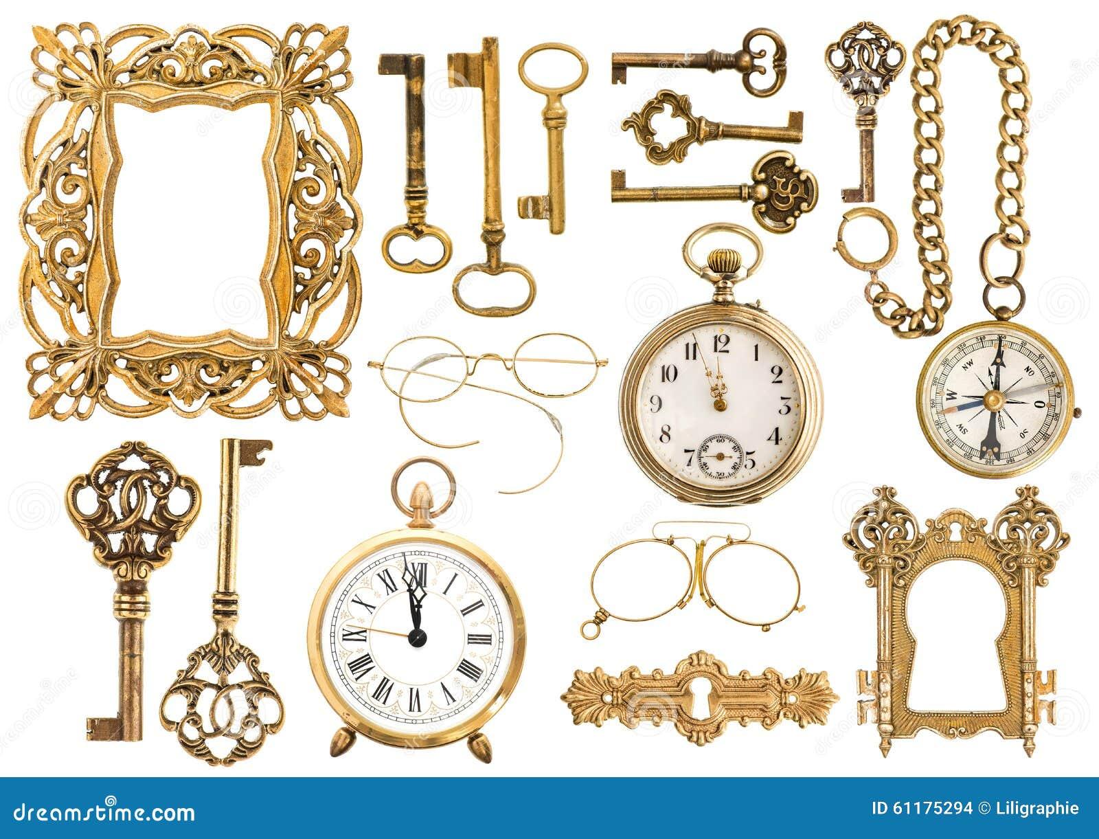 Accesorios De Oro Antiguos Llave Del Reloj Del Marco Del Vintage ...