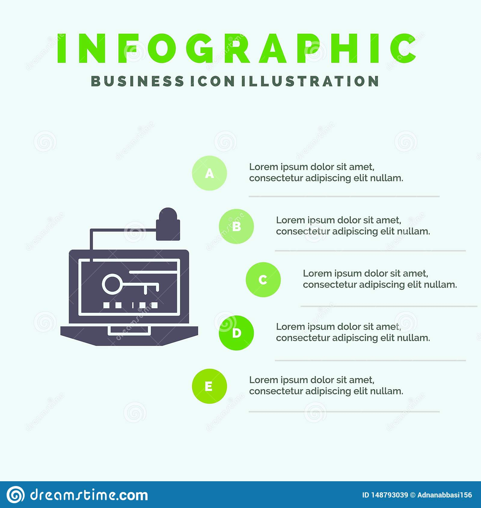 Access, Computer, Hardware, Key, Laptop Solid Icon Infographics 5 Steps Presentation Background