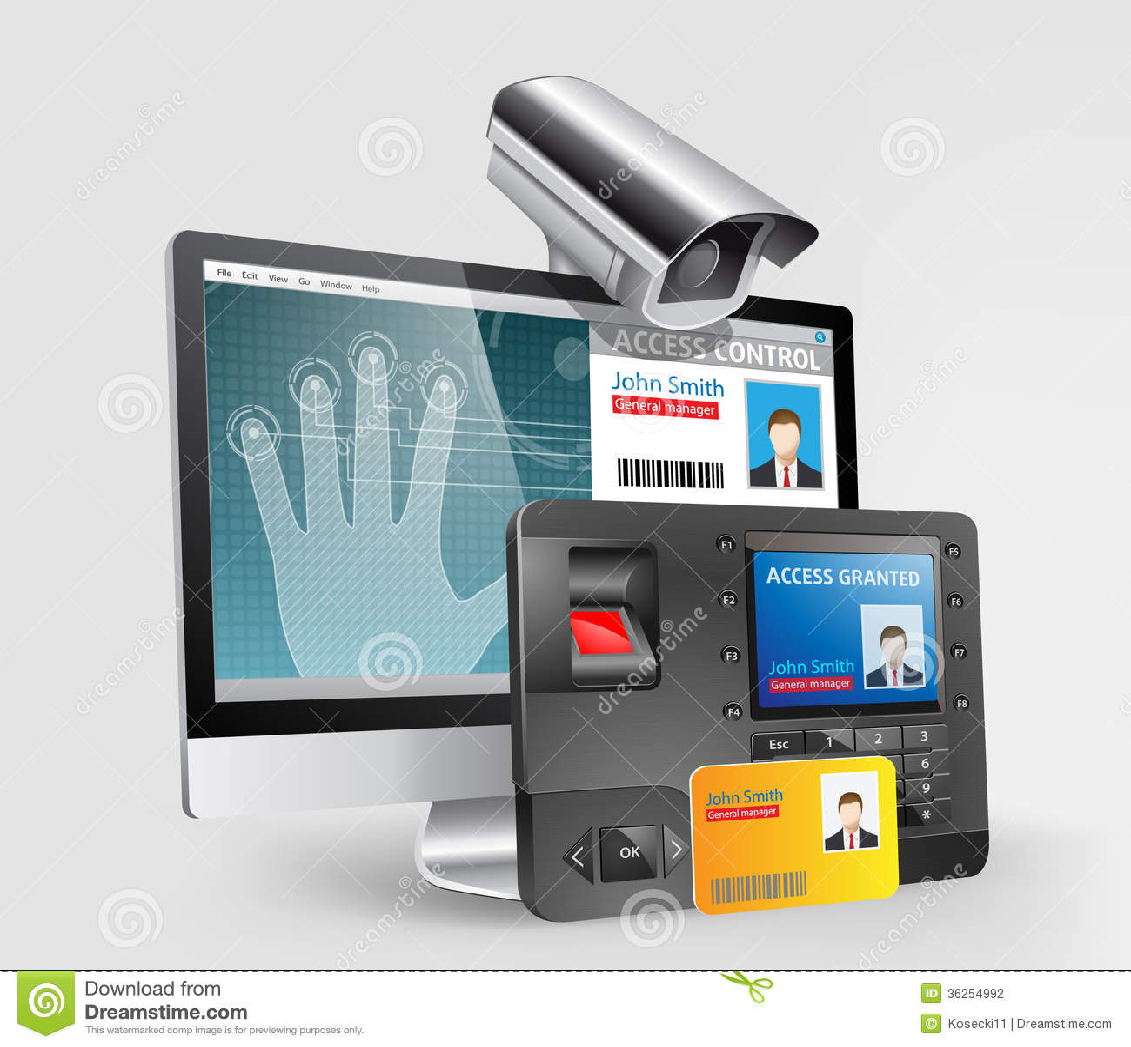Access Control Fingerprint Scanner Stock Vector