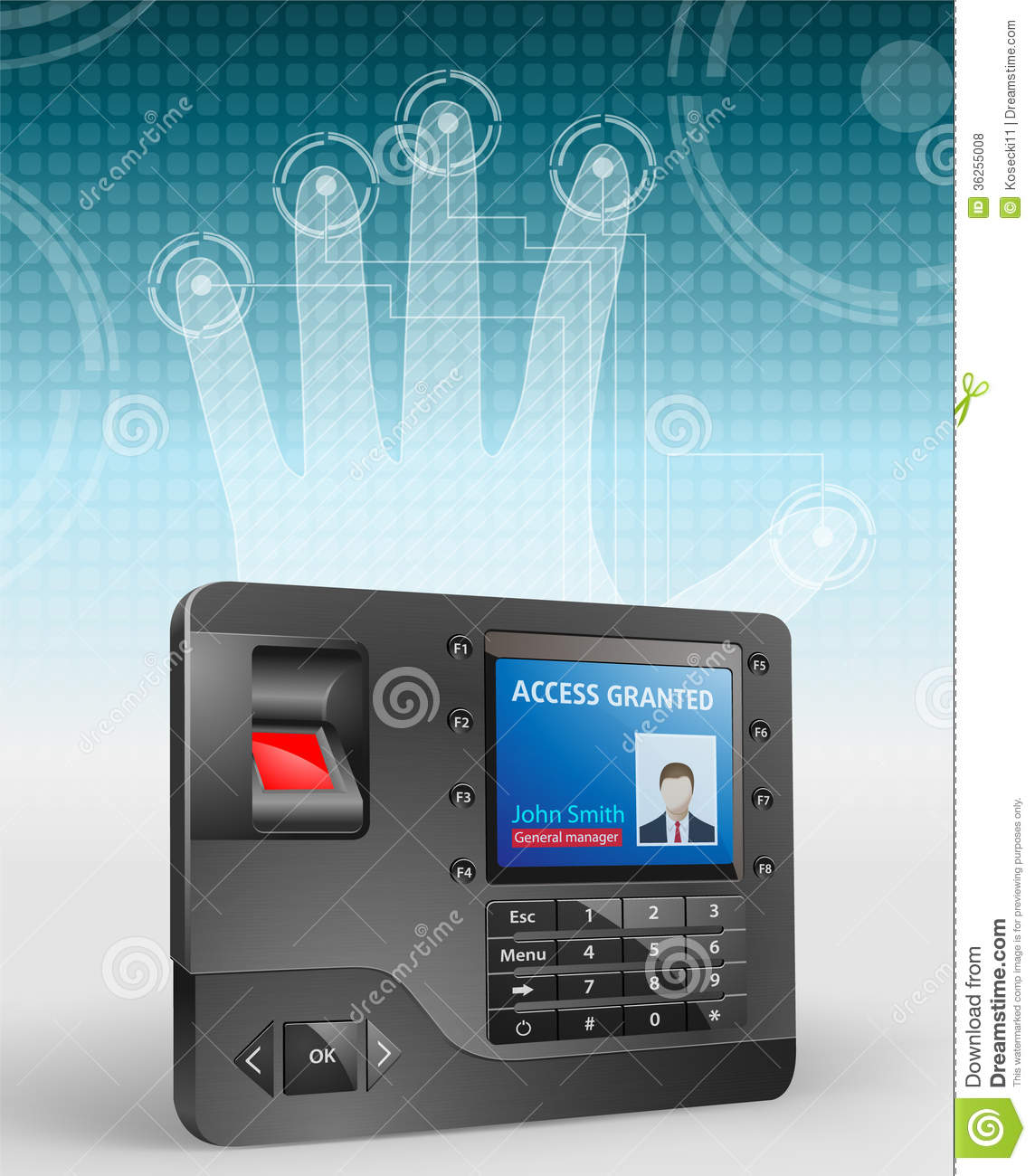 Access Control Fingerprint Scanner 3 Royalty Free Stock