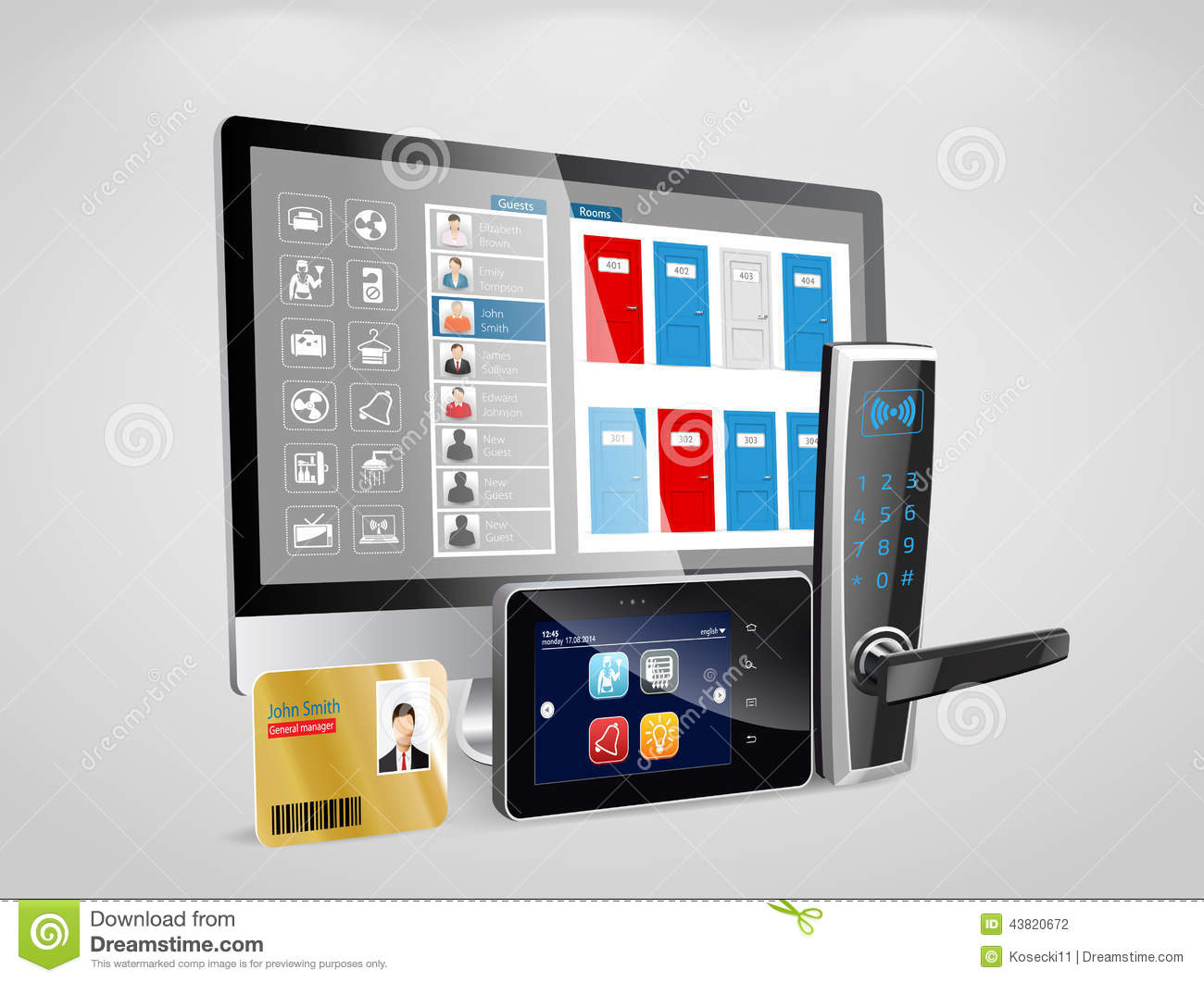Access Control And Management System Stock Vector