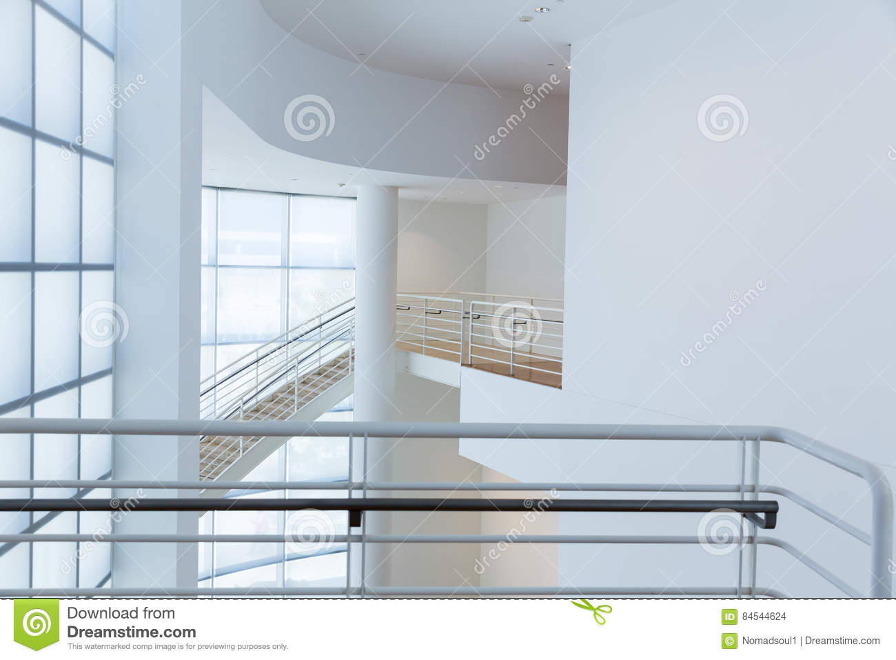 Access stair with metal handrails