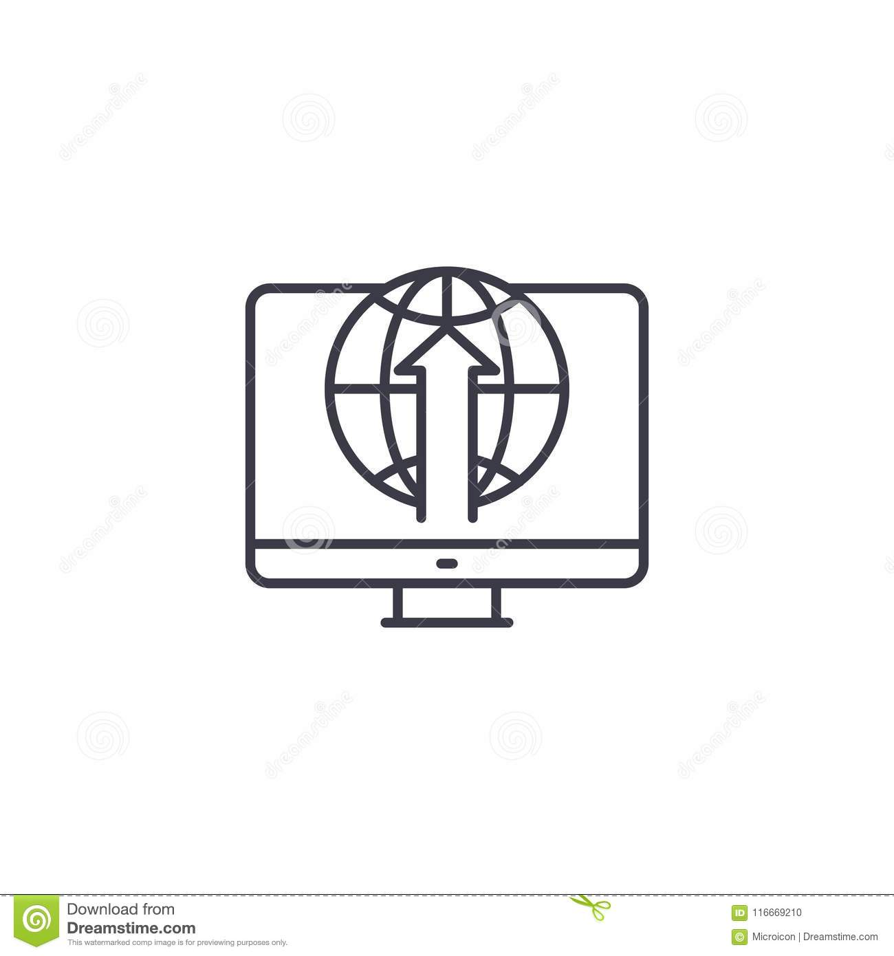 Access to the Internet linear icon concept. Access to the Internet line vector sign, symbol, illustration.