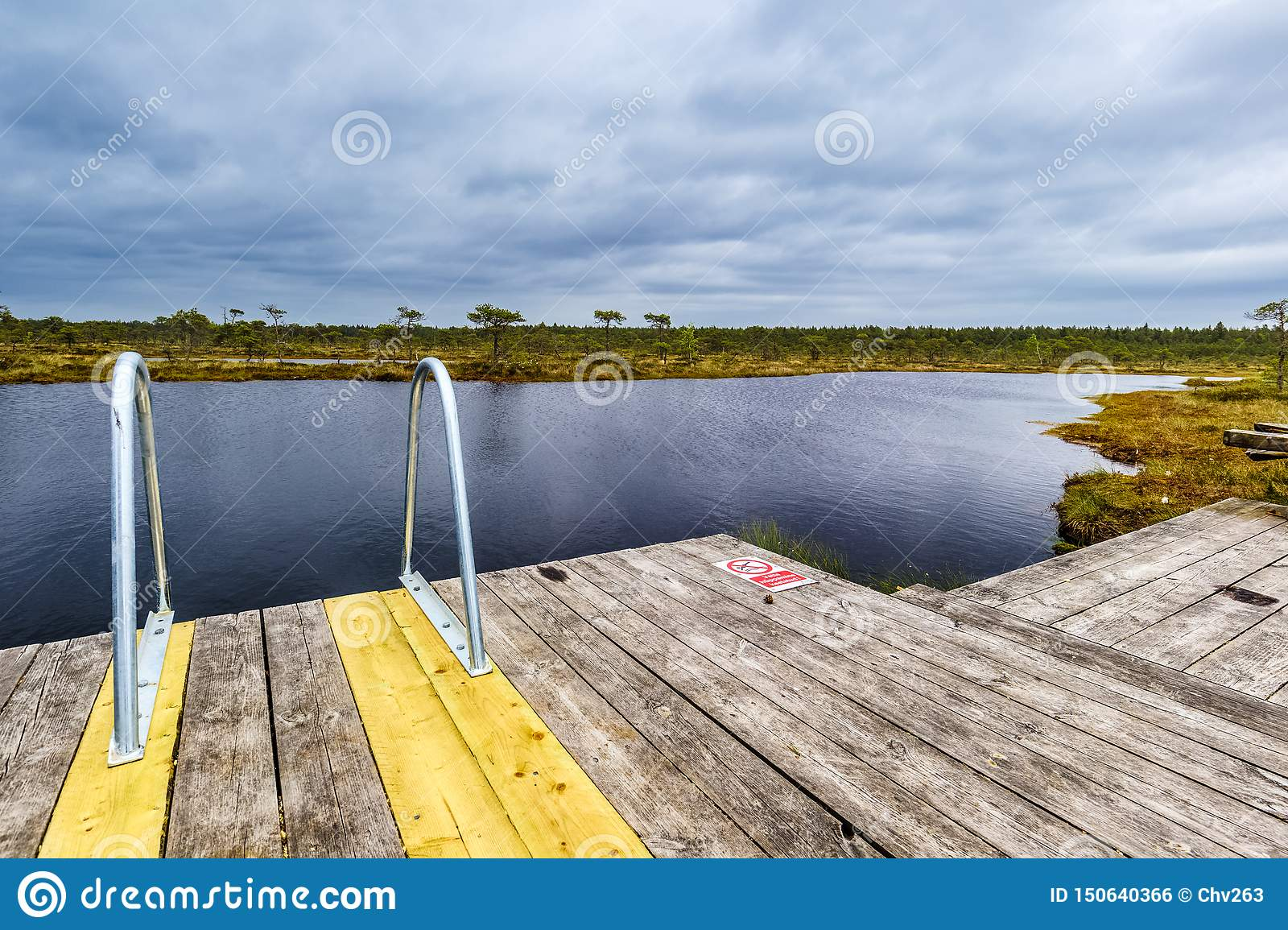 Access to a lake in the bog of Soomaa National Park, Estonia.
