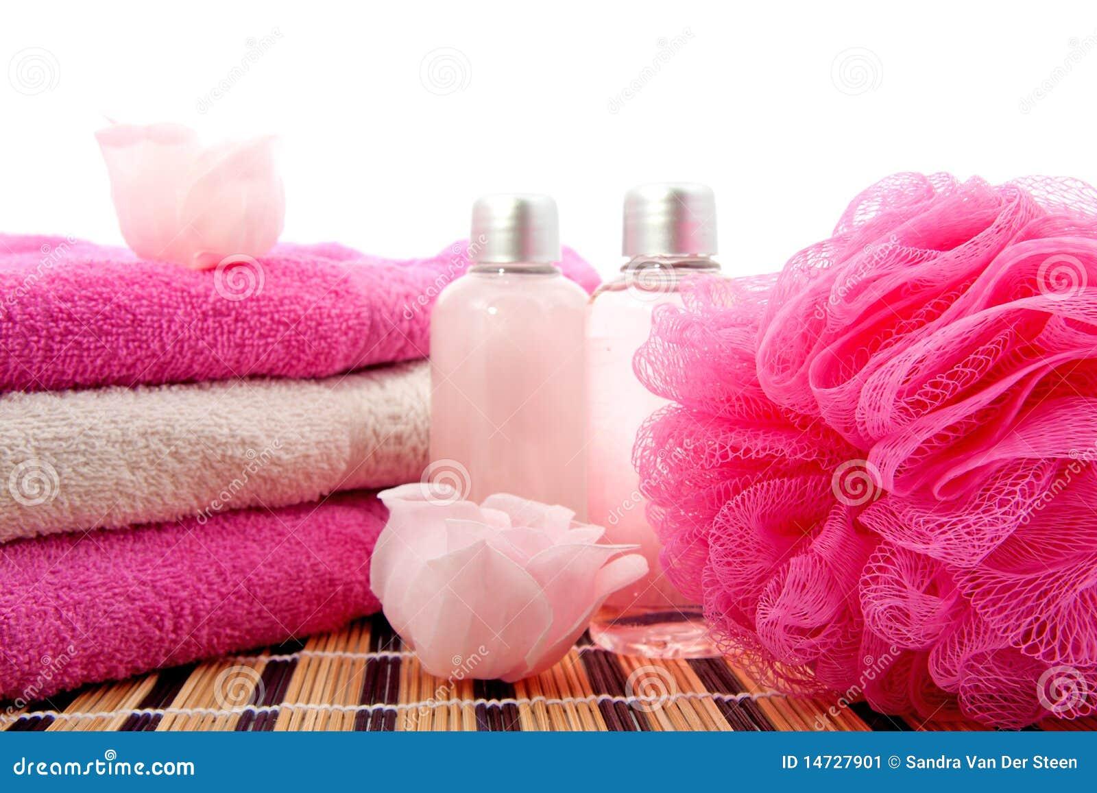 Accessoire rose de salle de bains de station thermale - Accessoires salle de bain rose ...